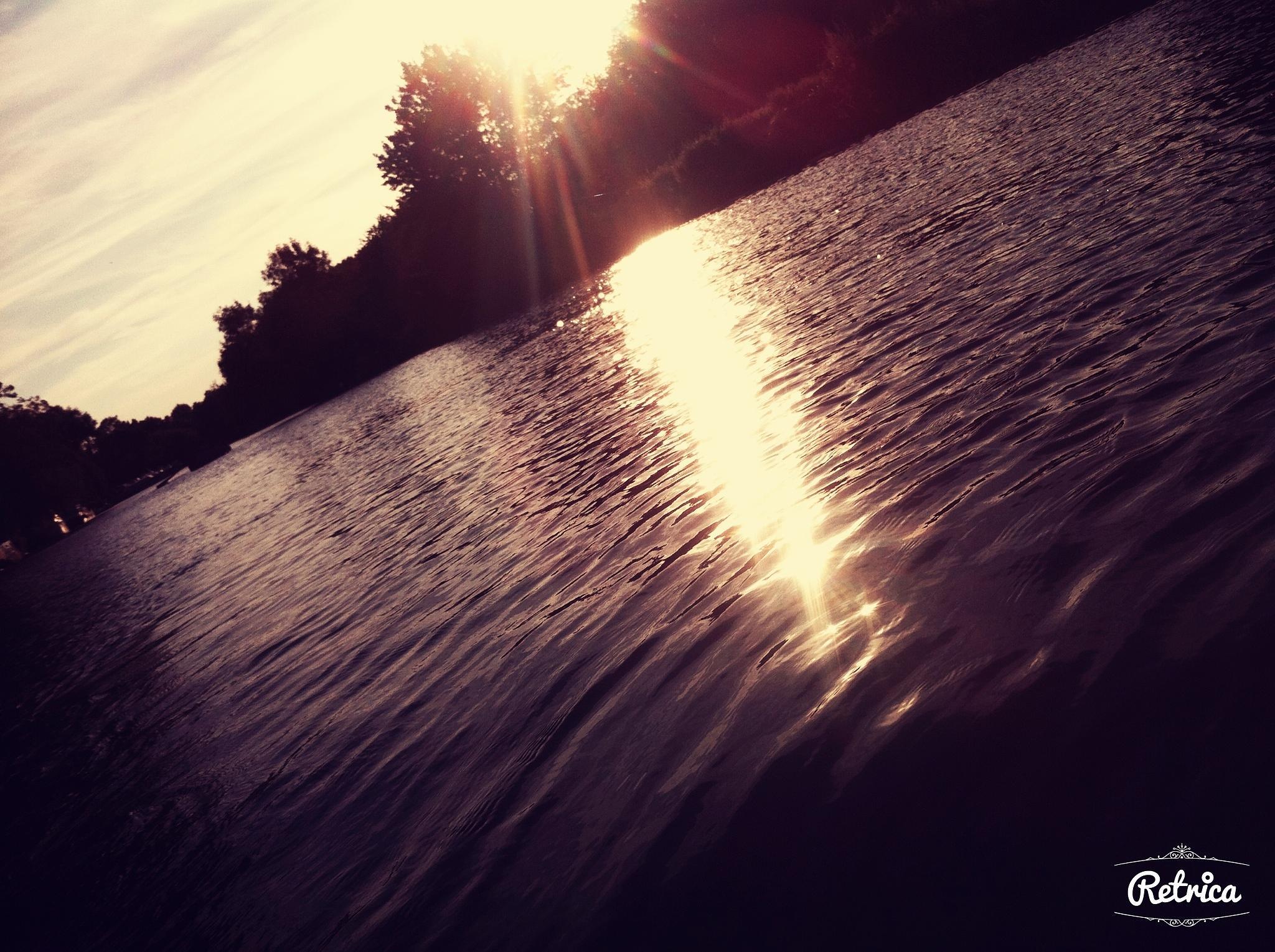 Sun Reflection on the River by kennaclarke