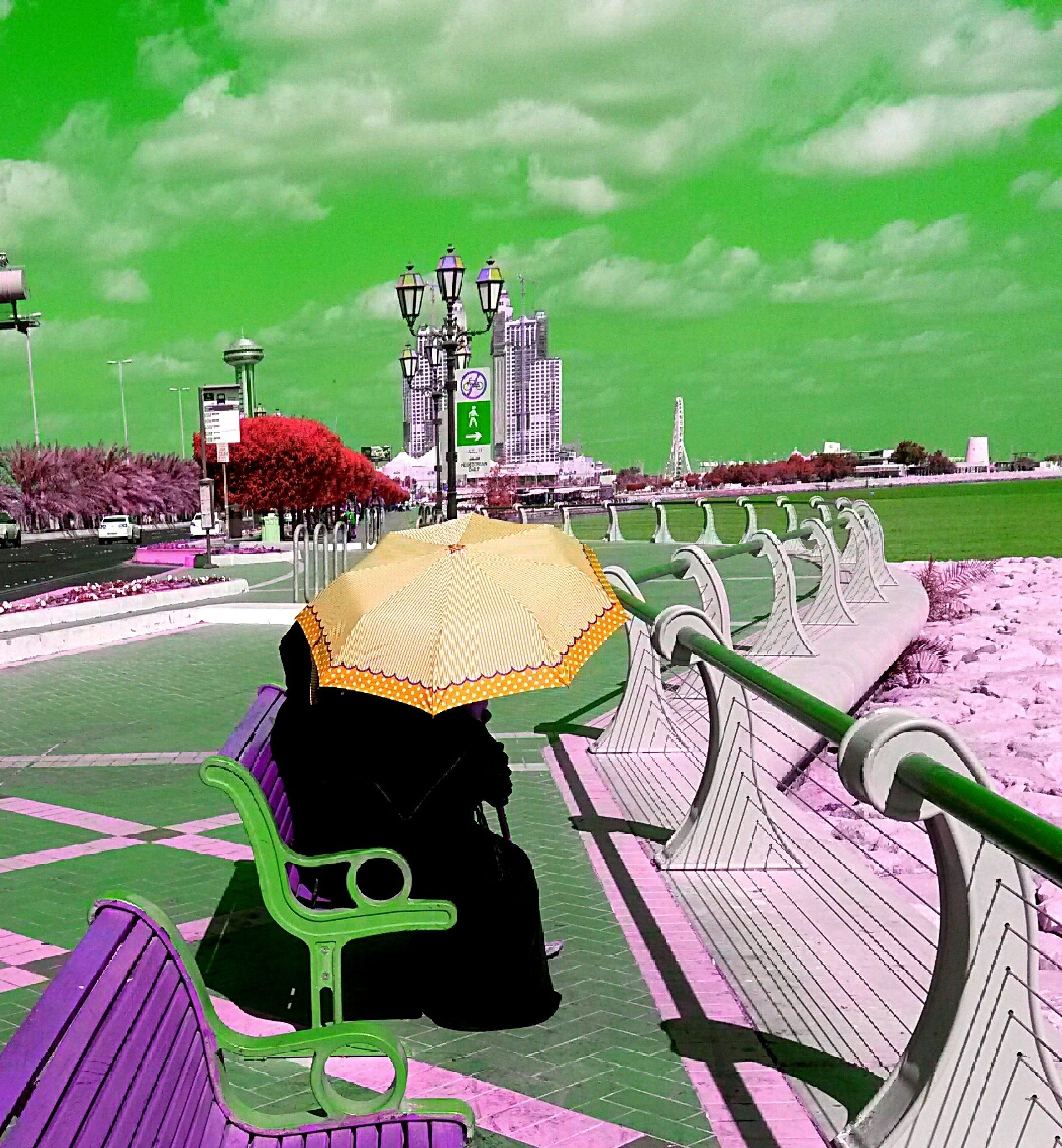 Abu Dhabi promenade today, with a Toulouse-Lautrec feel by Esmeralda Searle