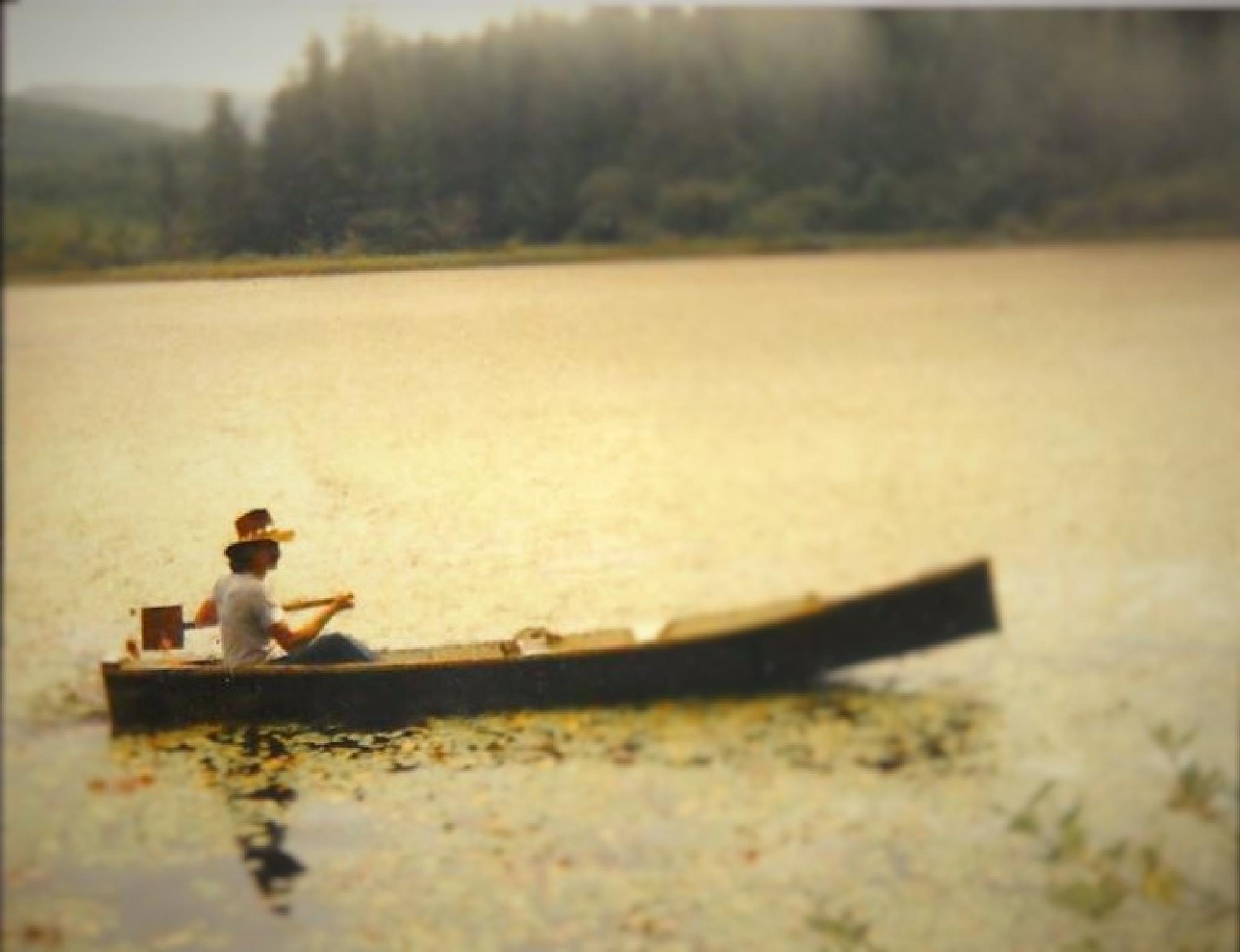 My brother James on a home made water craft on personel lake he named Dickie lake in Wasington sate by Marie Grimm