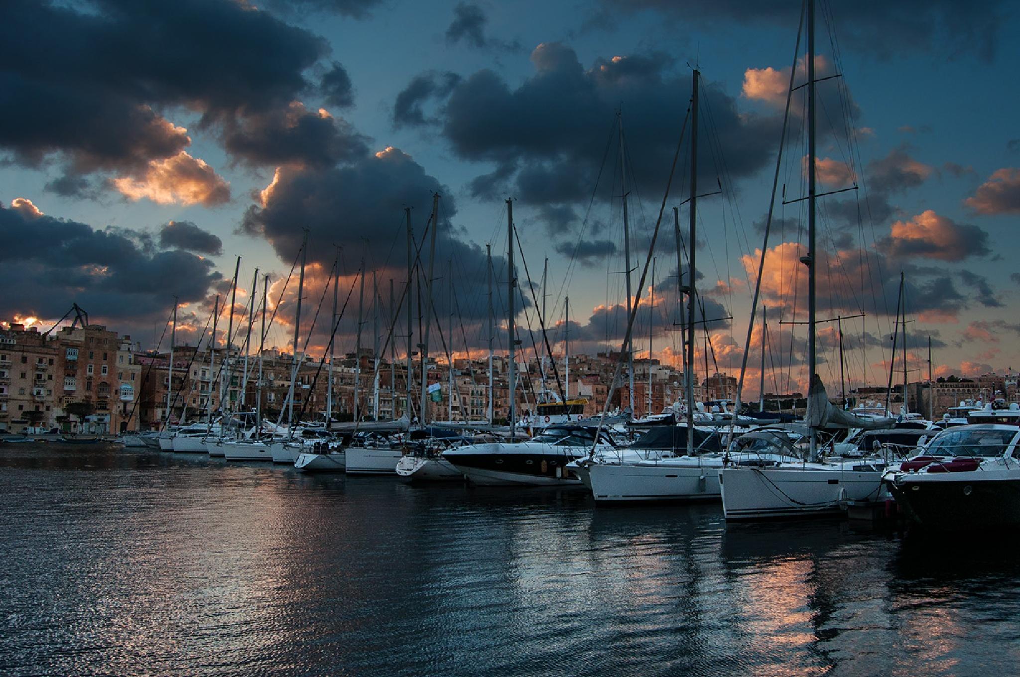 sunset on the marina by Joe Caruana