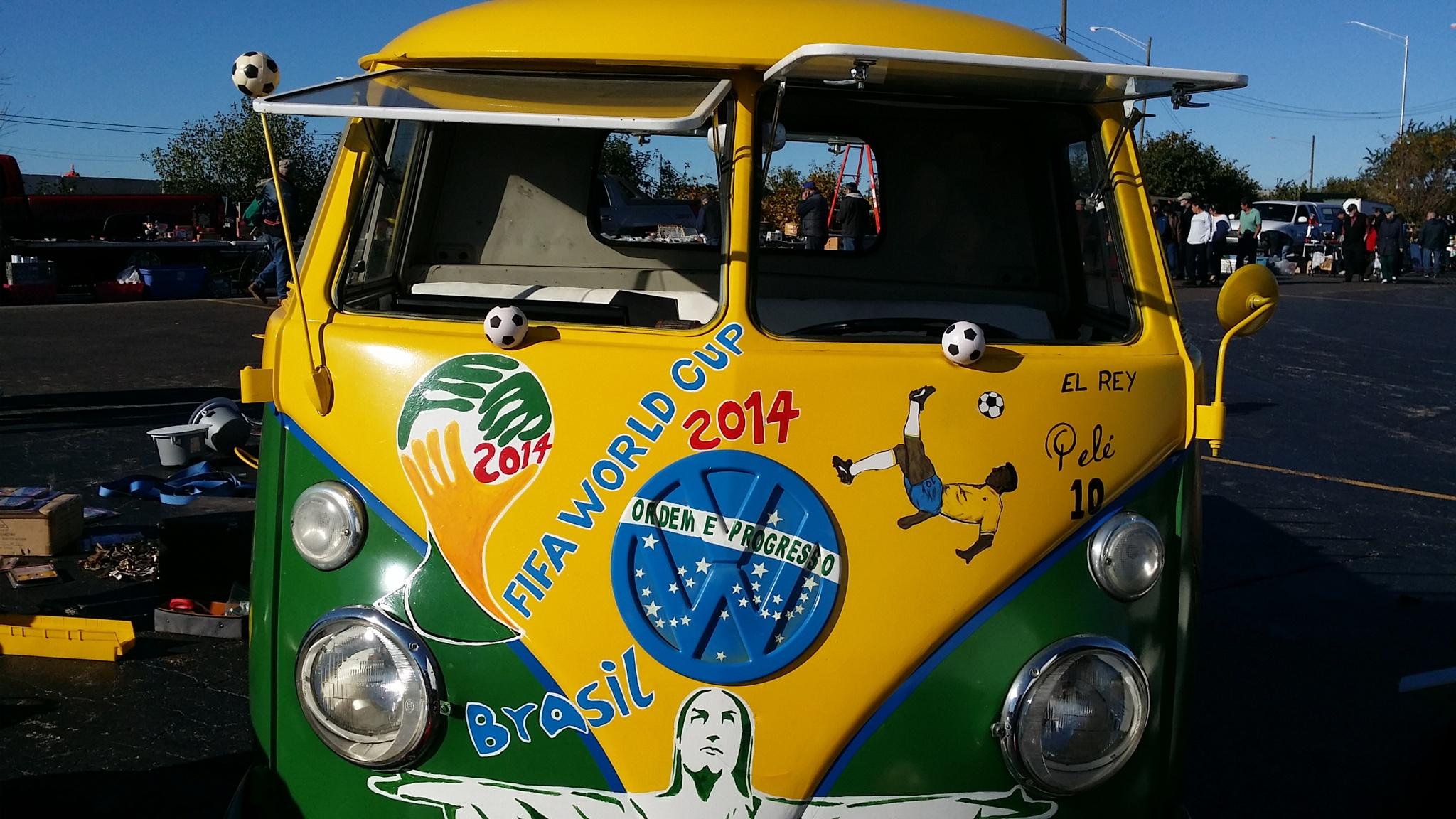Vintage VA Volkswagen Van Brazil Pele Soccer  by THETOYSTALKER