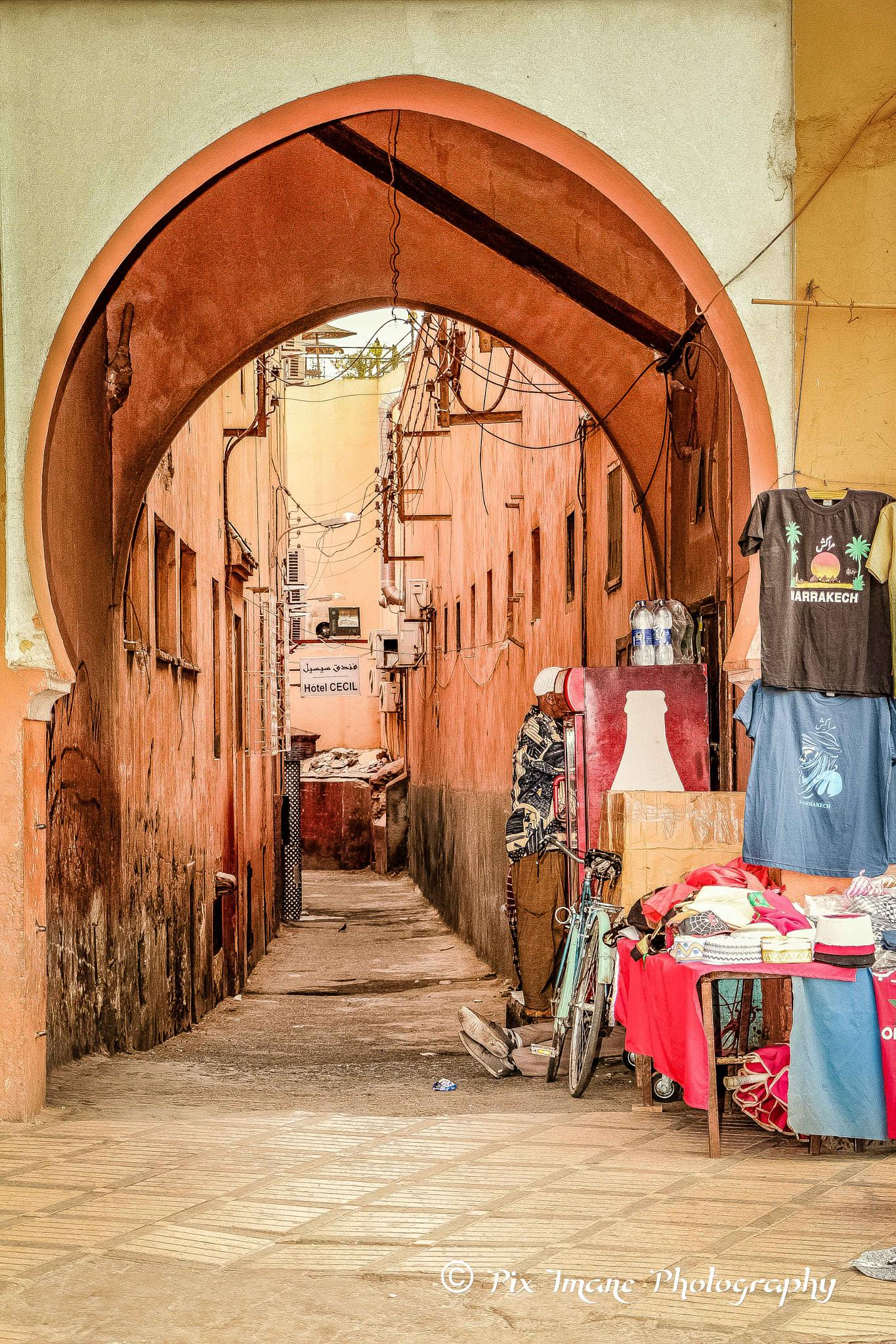 Medina street in Marrakech Morocco by PixImane Photography