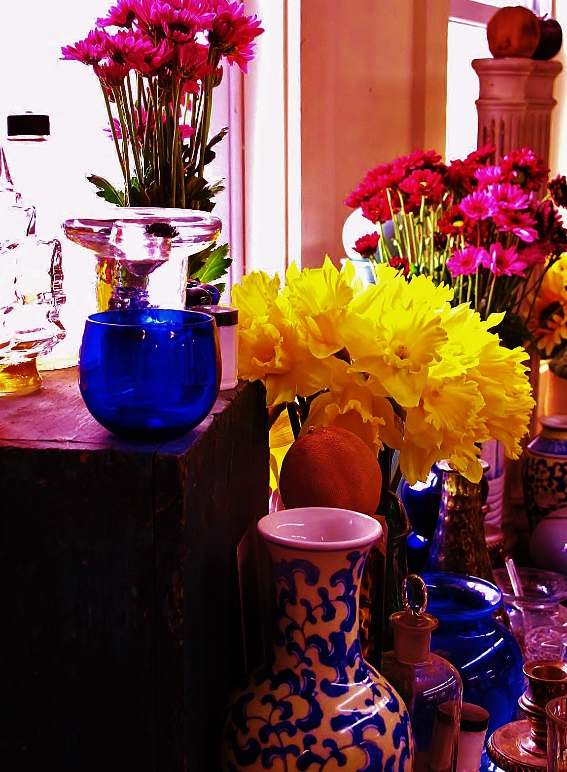 blue glass and flowers  by paulcrimi178