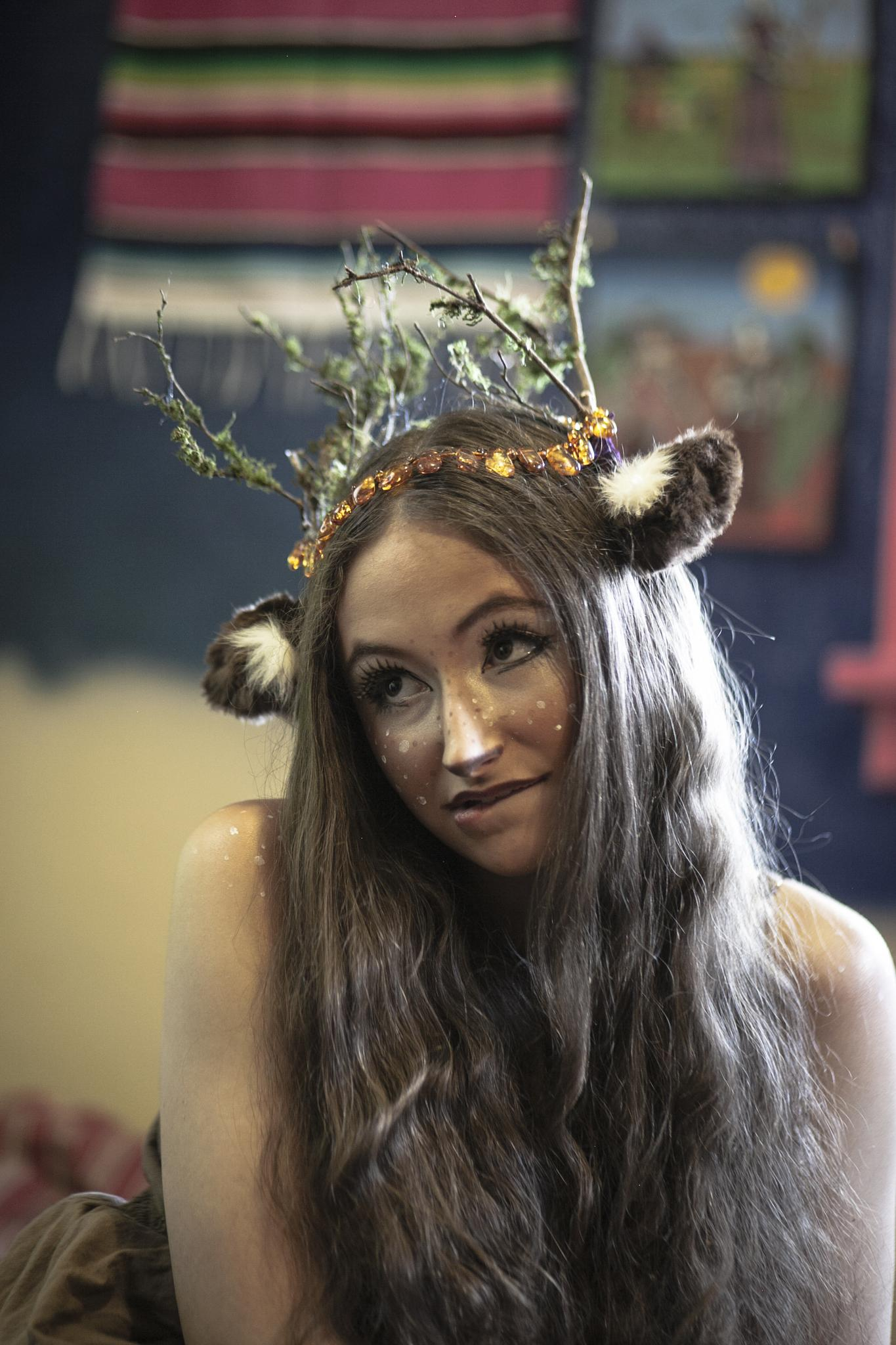 Actress Fawn being cute Behind the scenes of Tooth by Angeline Shepard
