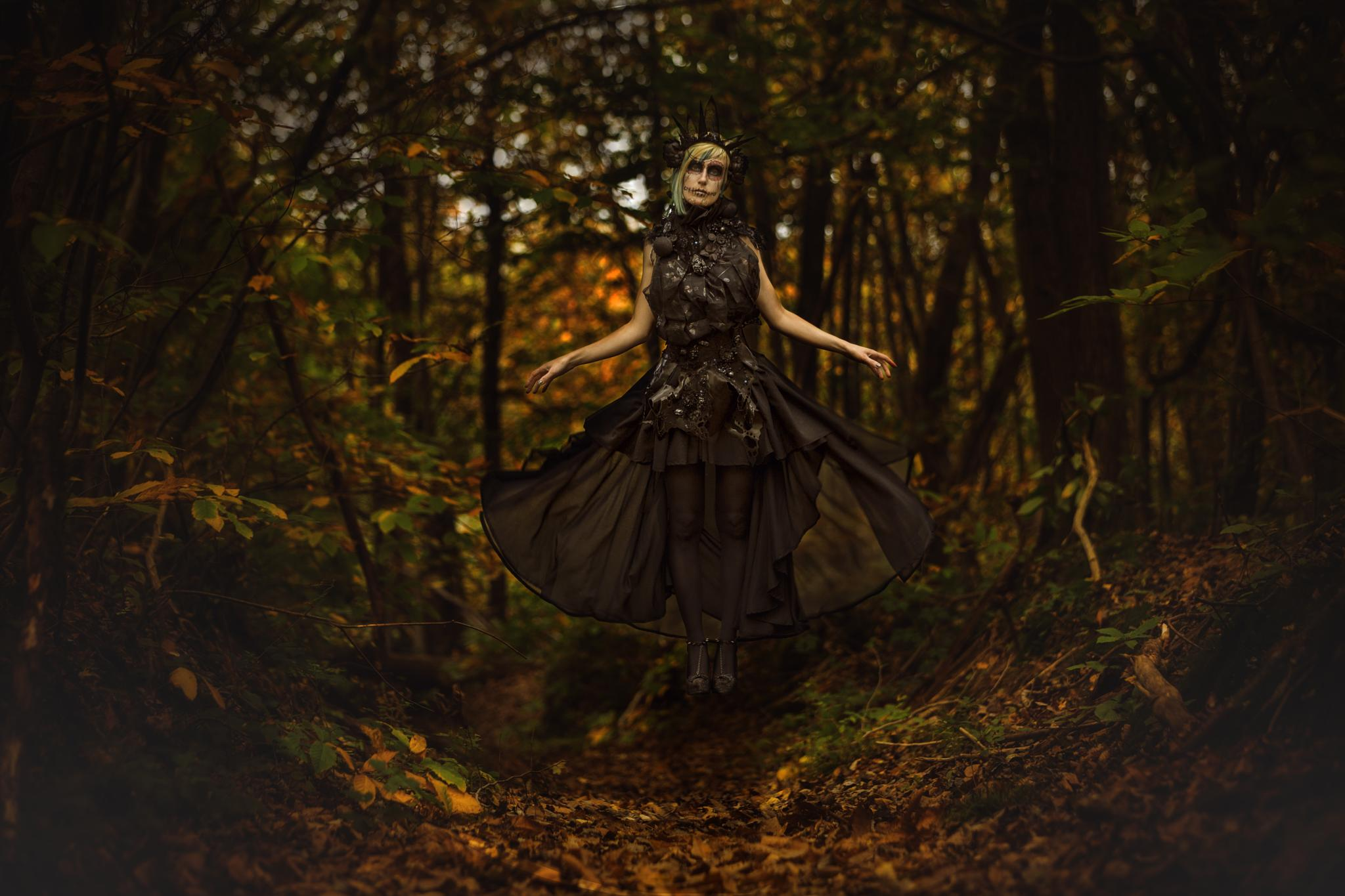 Photo in Fine Art #portrait #levitation #gravity zero #gravity #magic #halloween #santa muerte #styliste #mua #makeup #beauty #dark