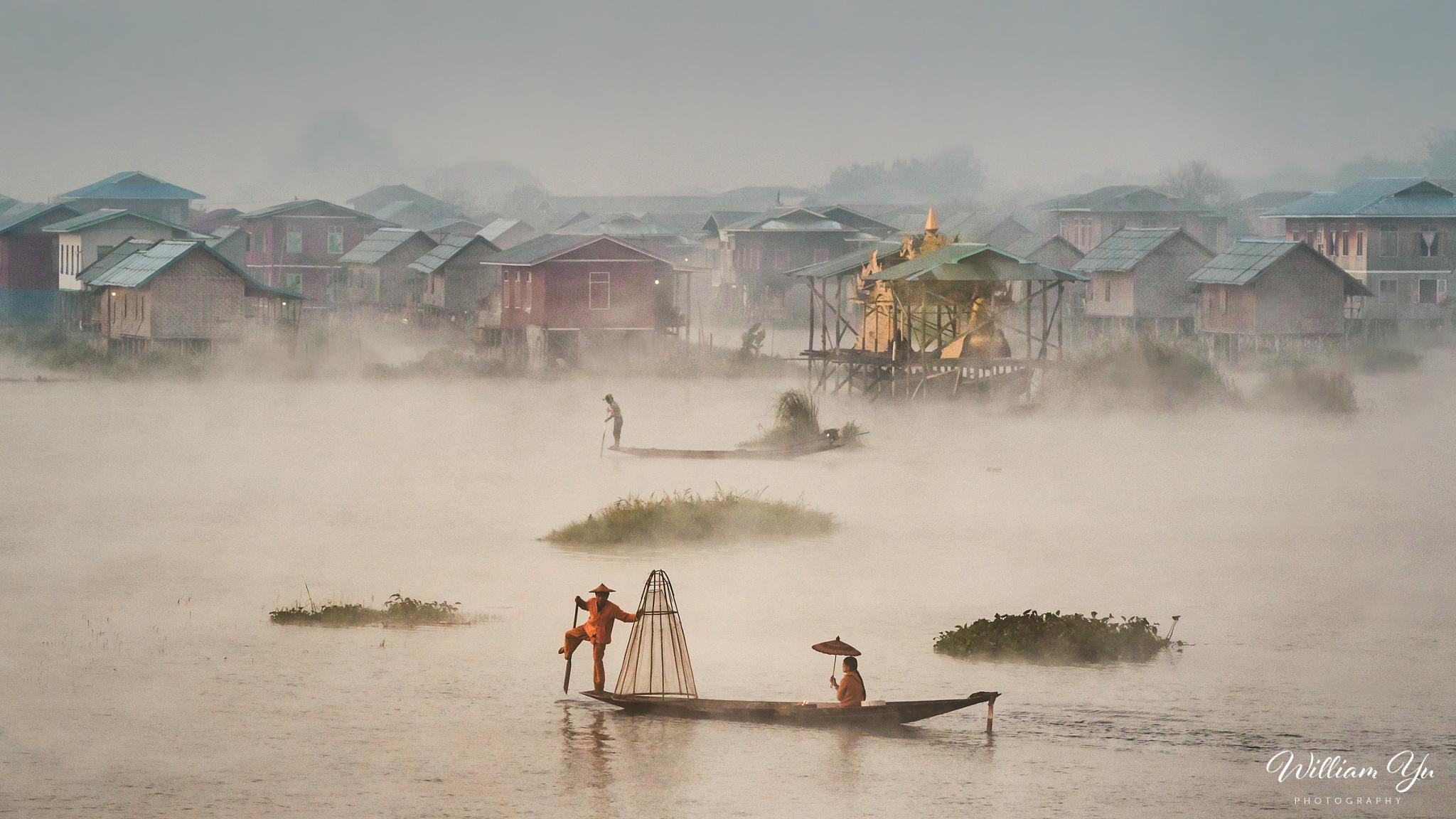 Photo in Travel #inle #lake #mist #fog #morning #fishing #boat #village #floating #myanmar #traffic #dawn