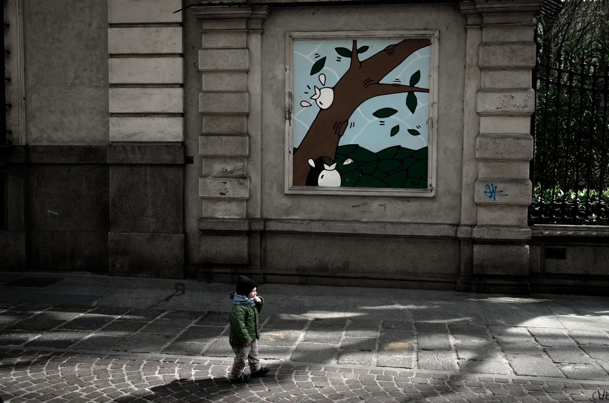Kid's graphics, kid in shot by Charlie Watkins