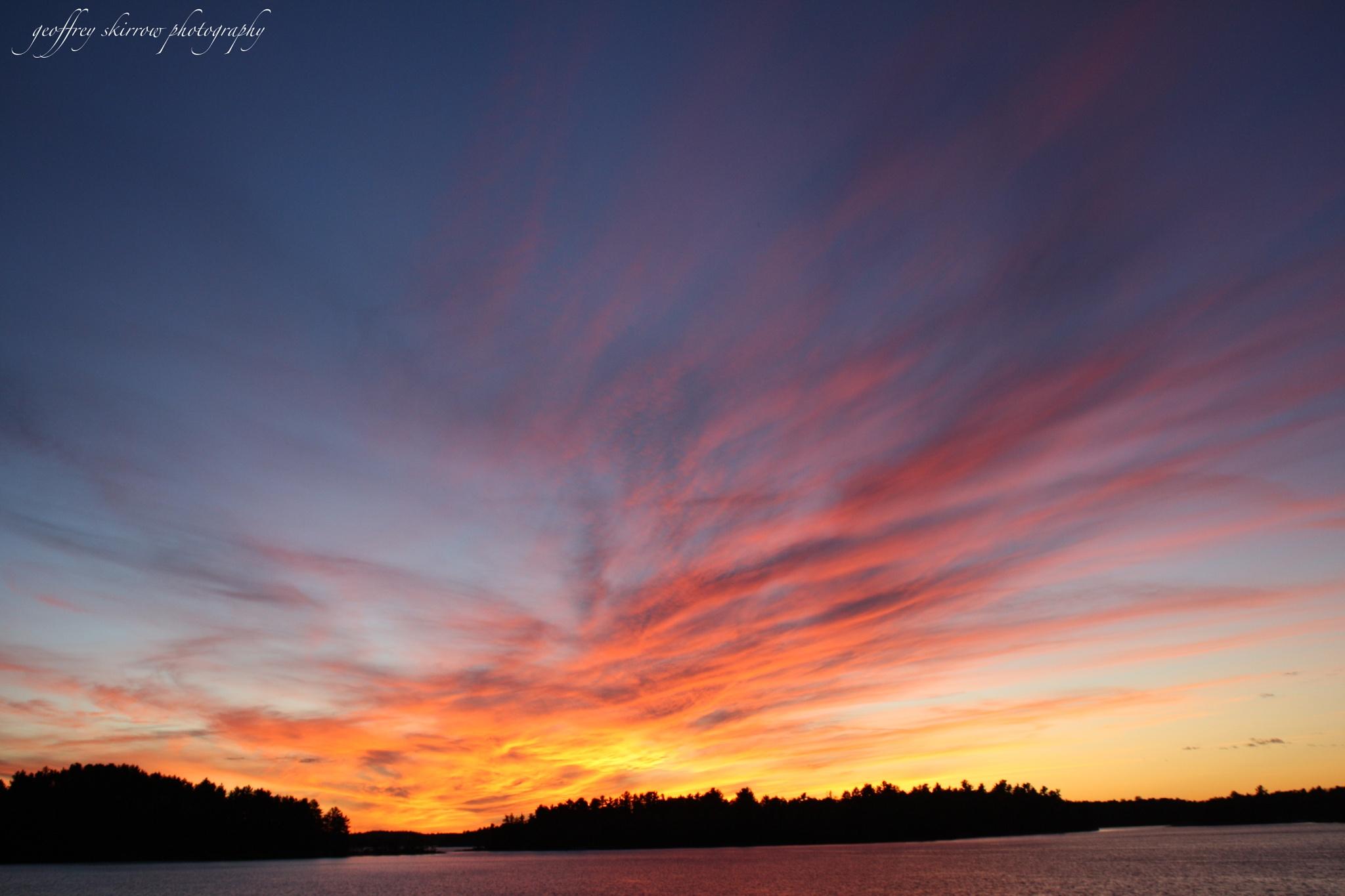Summer Sunset on Lake Wahwashkesh, ON by geoffreyskirrow