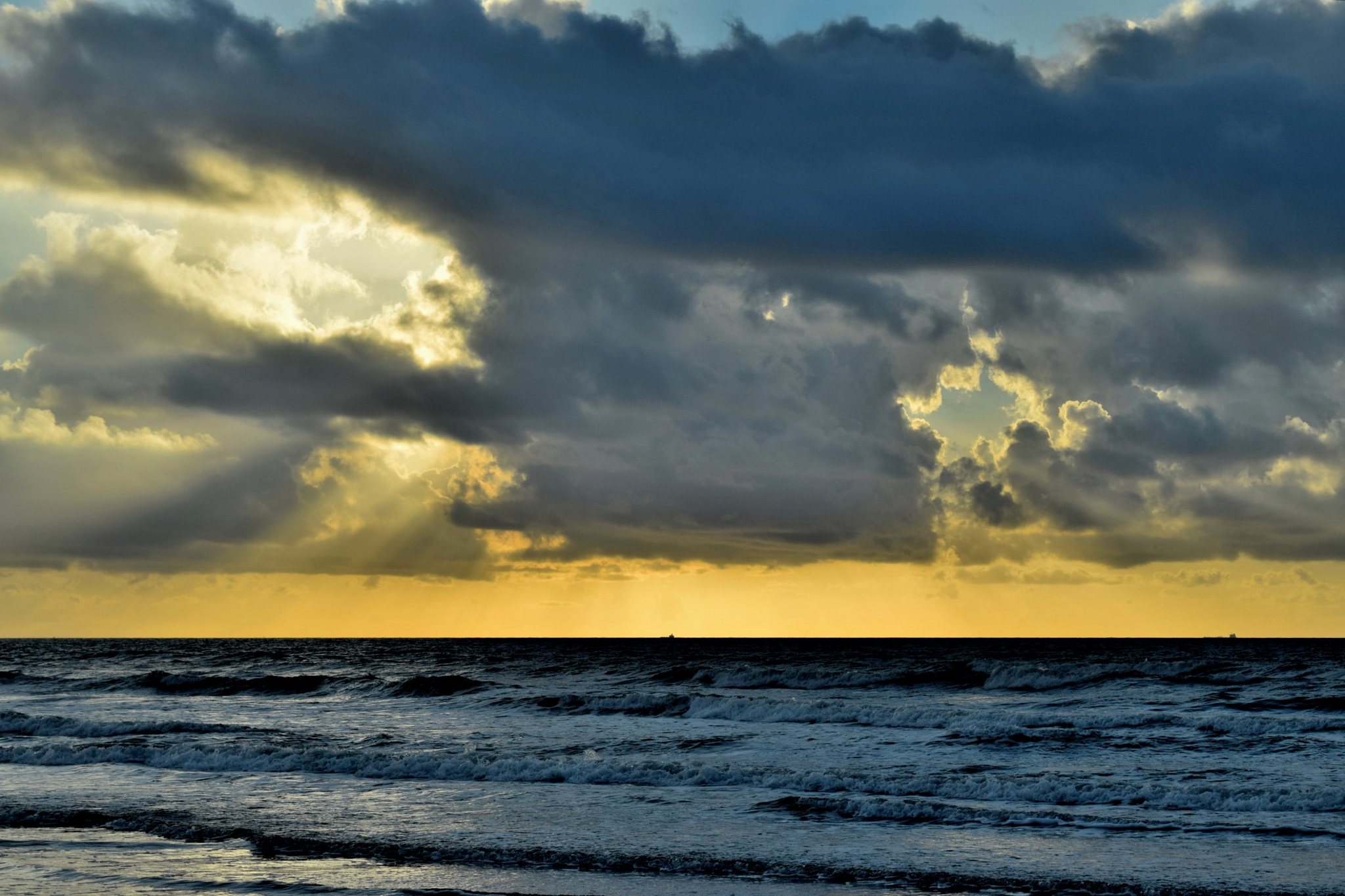 Galveston Tx 141~Golden Sky Ocean Sunrise by Lawrence Scott Hess