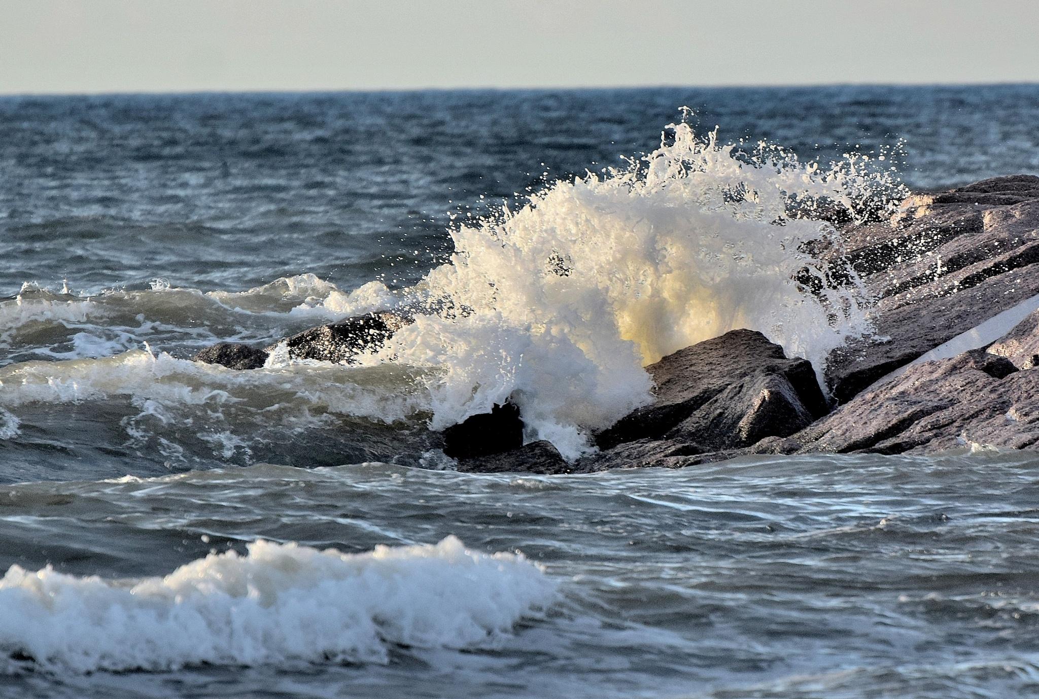 Galveston Tx 273~Crashing Sea Waves by Lawrence Scott Hess