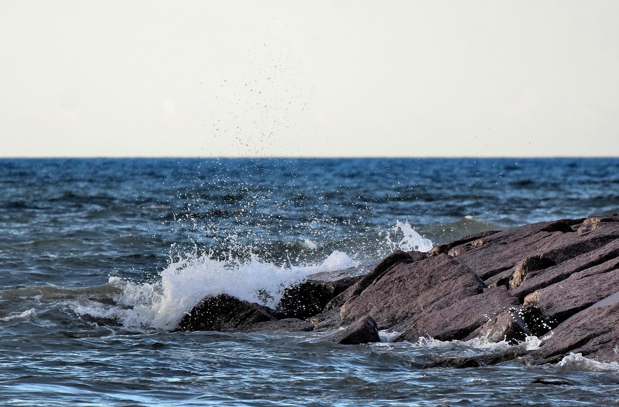 Galveston Tx 277~Crashing Waves 2 by Lawrence Scott Hess