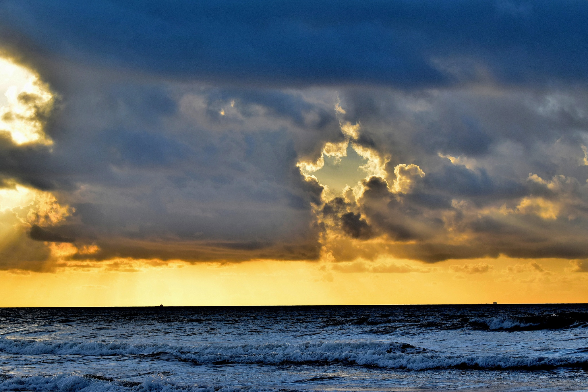 Galveston Tx 278~Golden Rays Through The Clouds by Lawrence Scott Hess