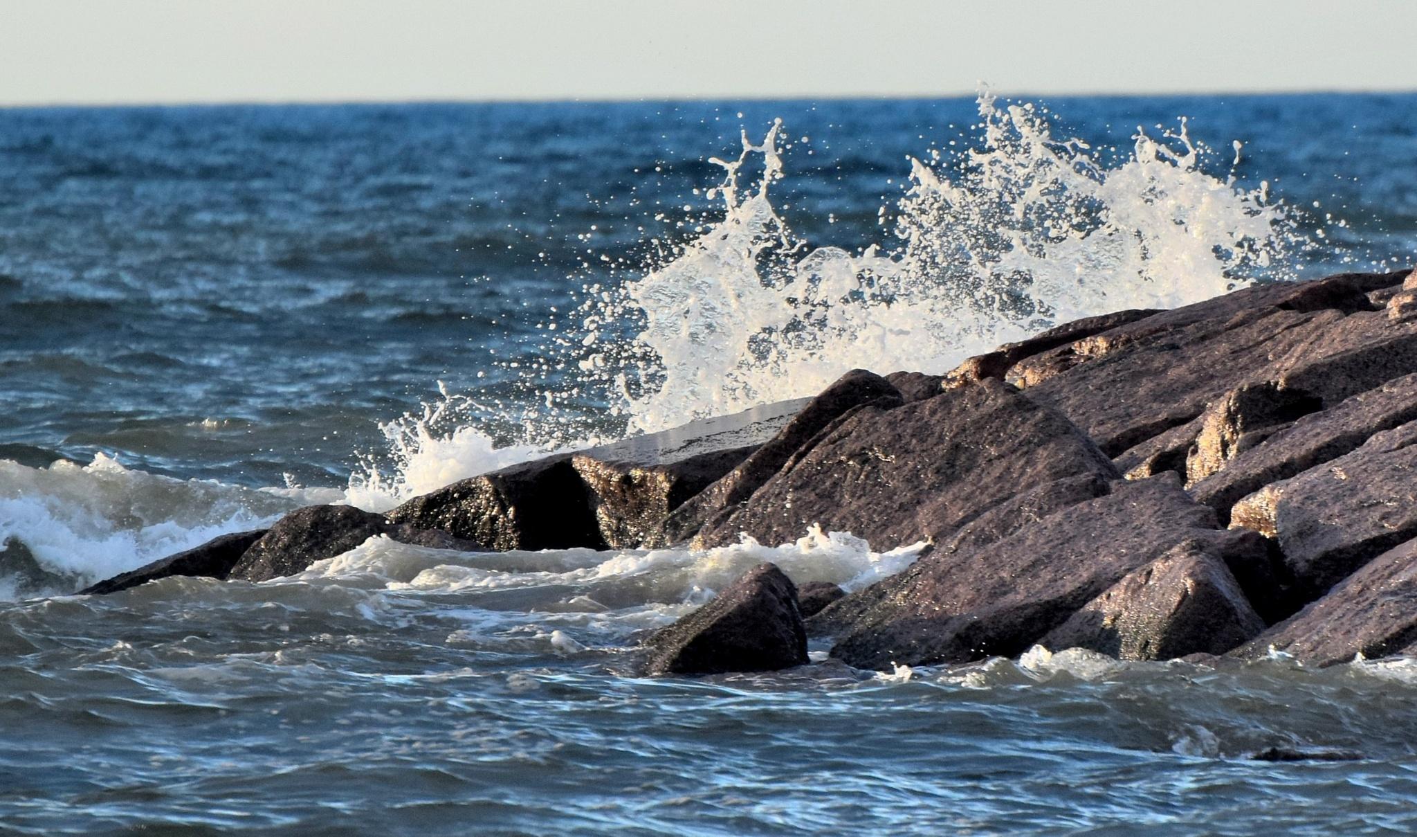 Galveston Tx 282~Crashing Waves 5 by Lawrence Scott Hess
