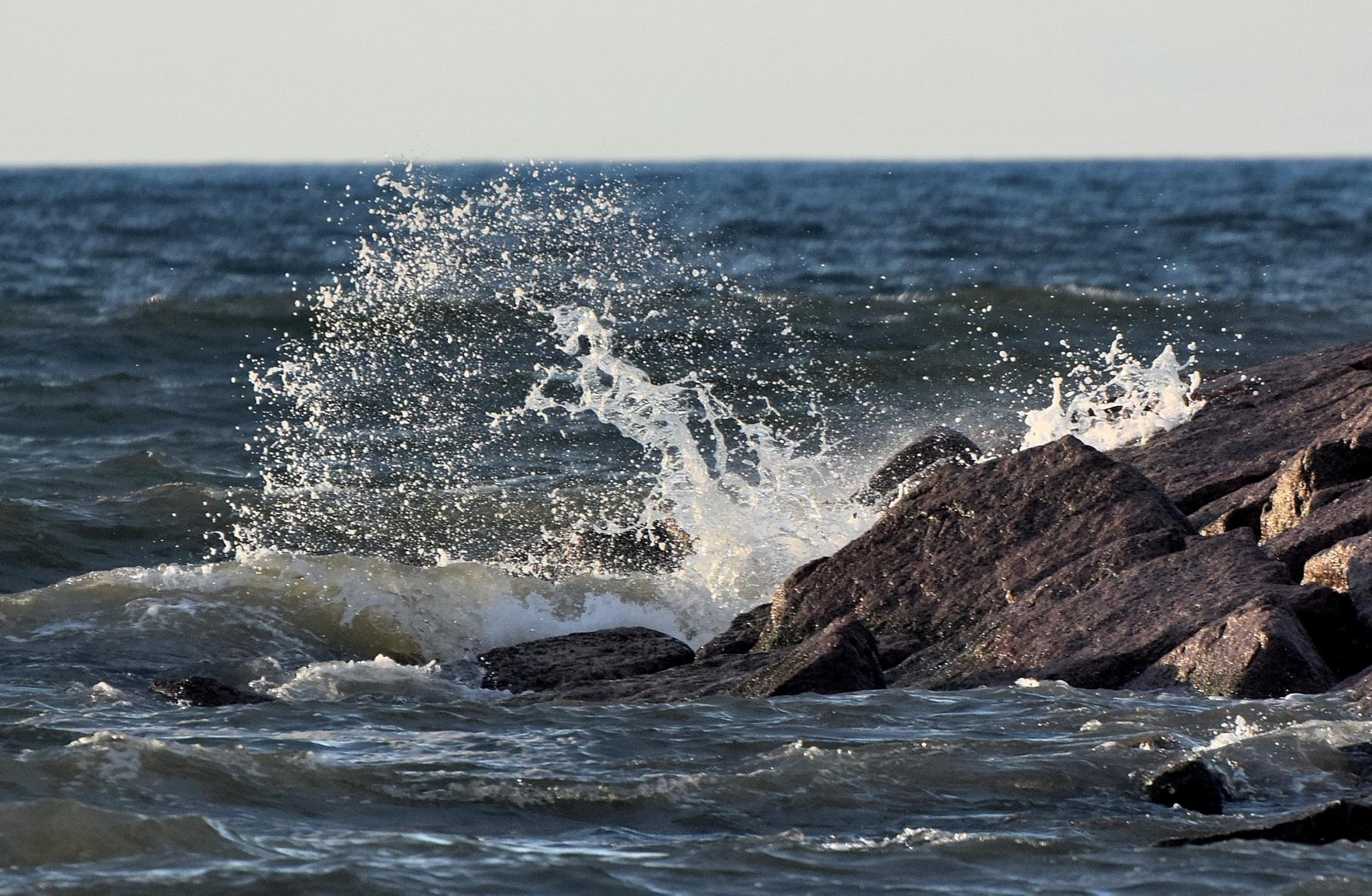 Galveston Tx 286~Crashing Waves 7 by Lawrence Scott Hess