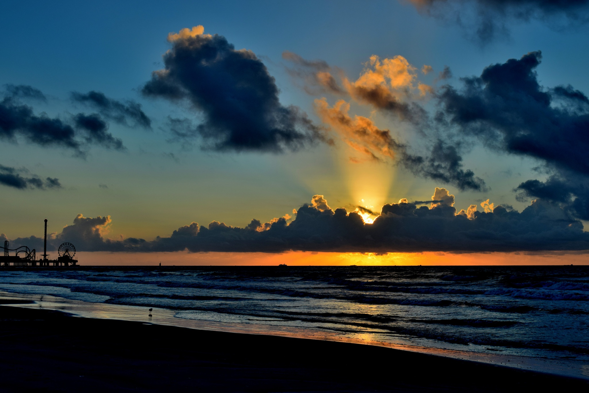 Galveston Tx 525~Sunrise Thru The Clouds by Lawrence Scott Hess