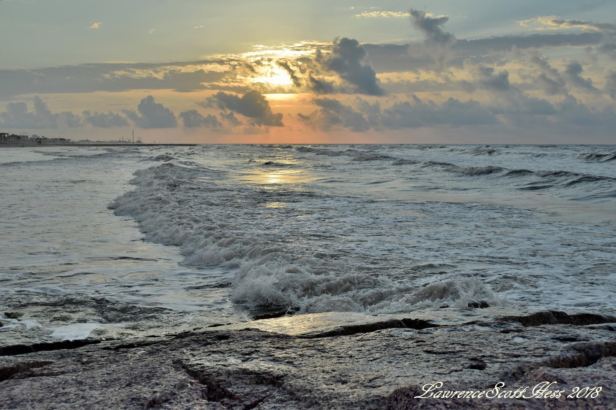 Galveston 963~Sunrise Ocean Waves by Lawrence Scott Hess
