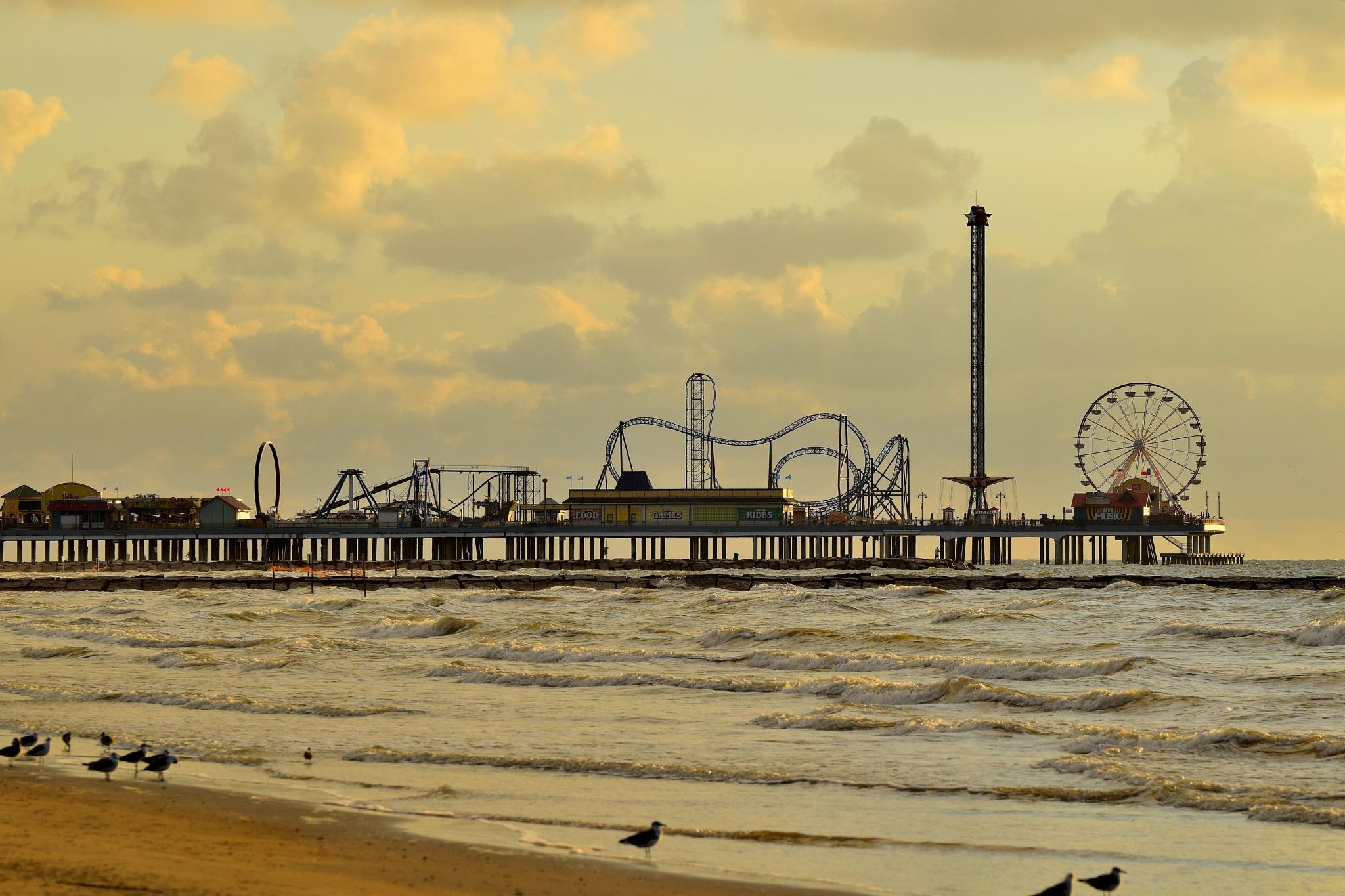 Galveston 52~Pleasure Pier Sunrise by Lawrence Scott Hess