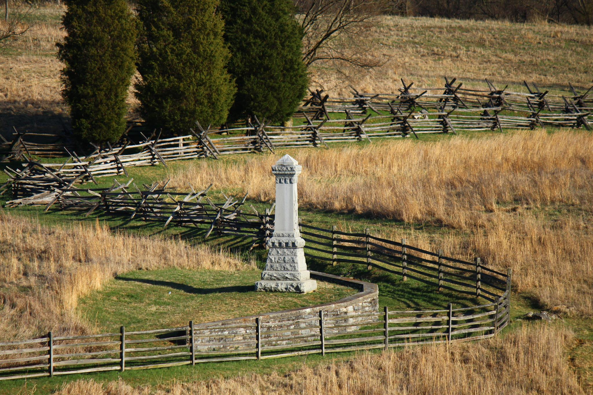 Civil War Monument With Winding Fences by Clark L. Roberts