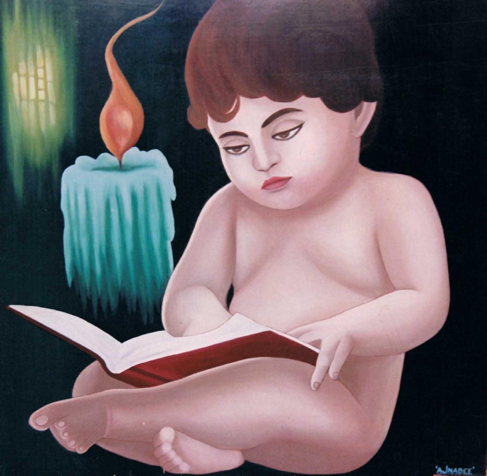 BOY BUSY IN STUDY ( OIL PAINTING ) by iqbalajnabee506