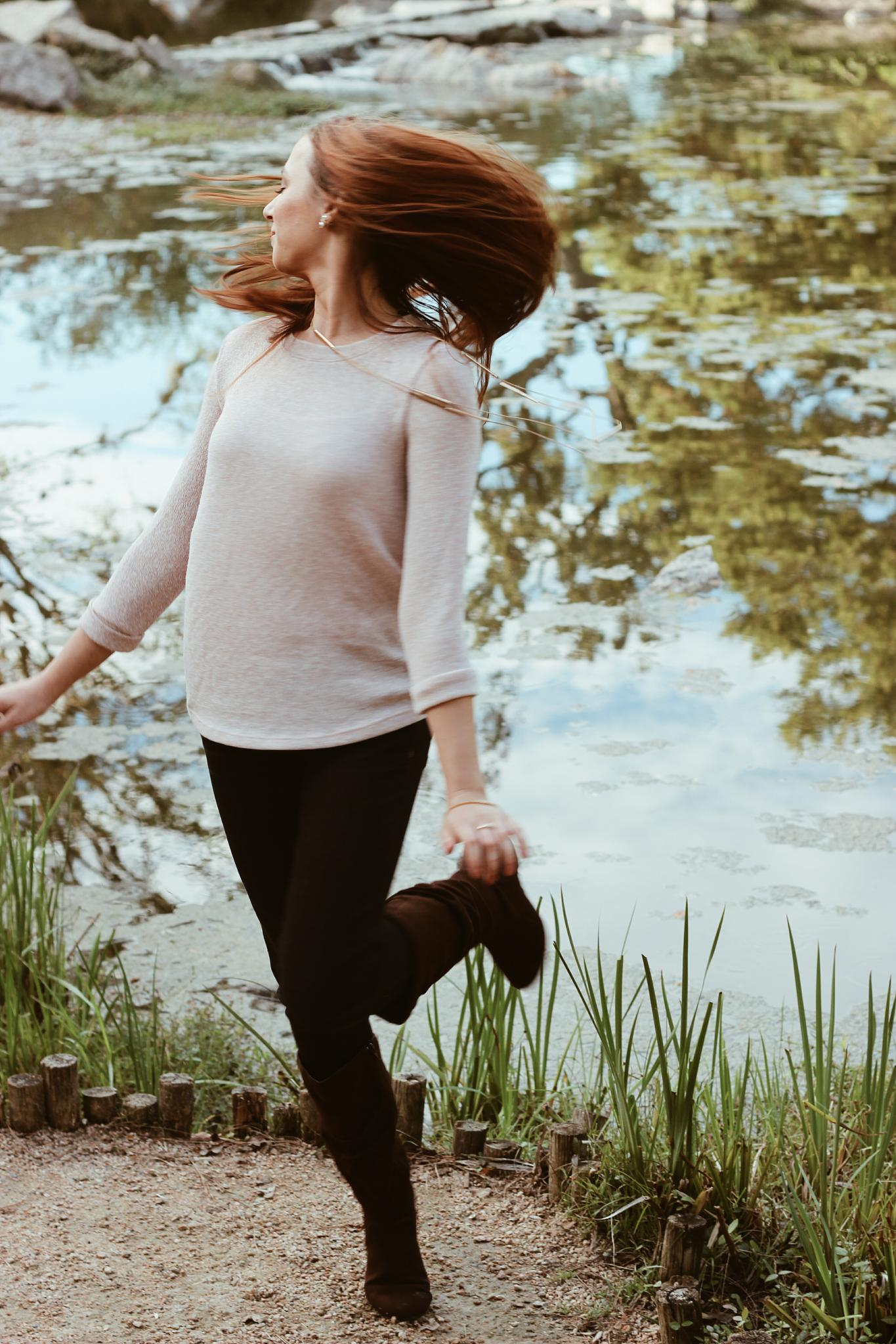 Photo in People #girl #cute #spin #love #awesome #canon #rebel #photo #photography #best #hair #hair flip #reflect #light #pond #park #outside #outdoors #senior #portrait #motion #repic #fav
