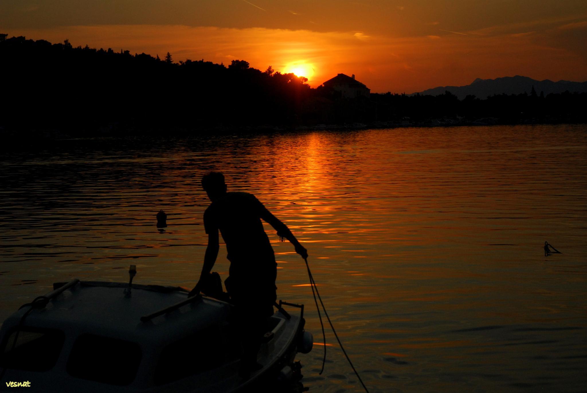 sunset in Makarska, Adriatic coast, Croatia by vesna.tafra