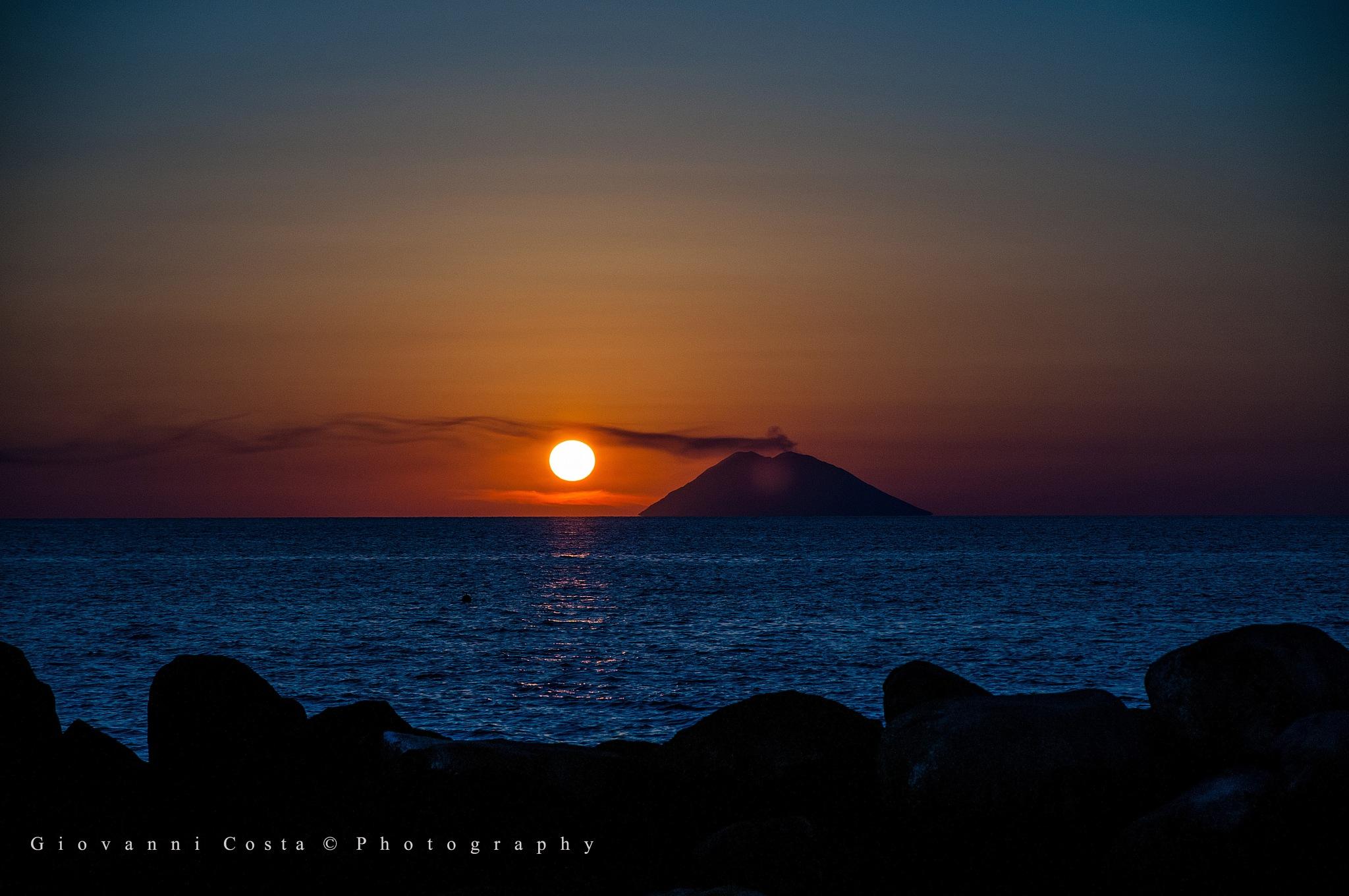 Sunset on Stomboli by GiovanniCostaPhotographer