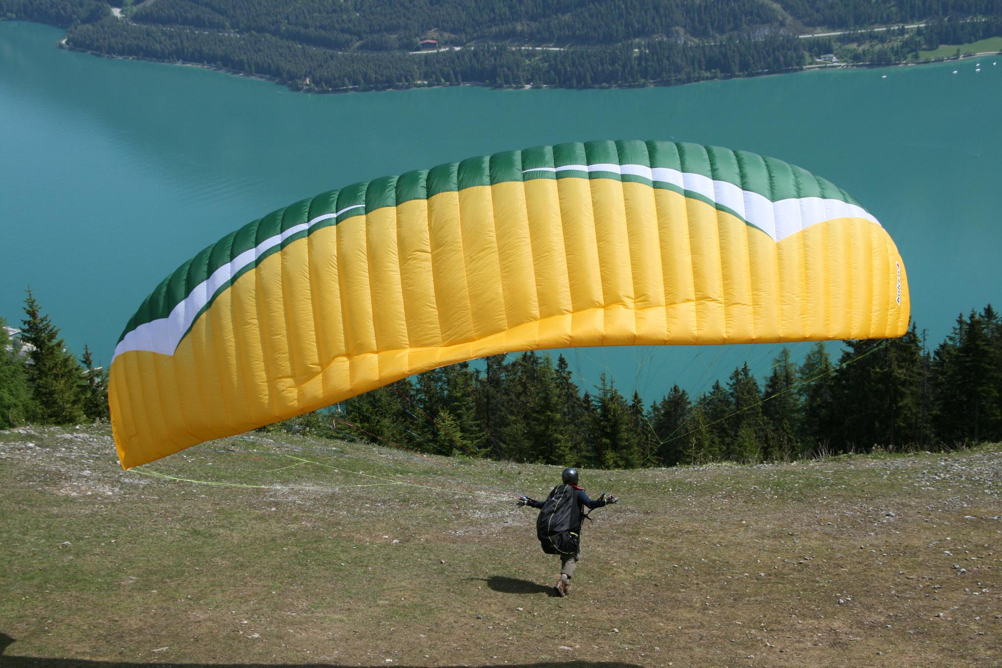 Photo in Random #mountain #parachute #lake