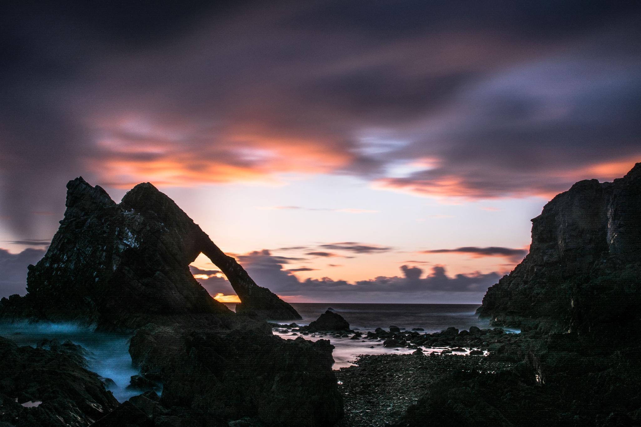 Bow Fiddle Rock dawn long exposure by Andrew Dalgarno