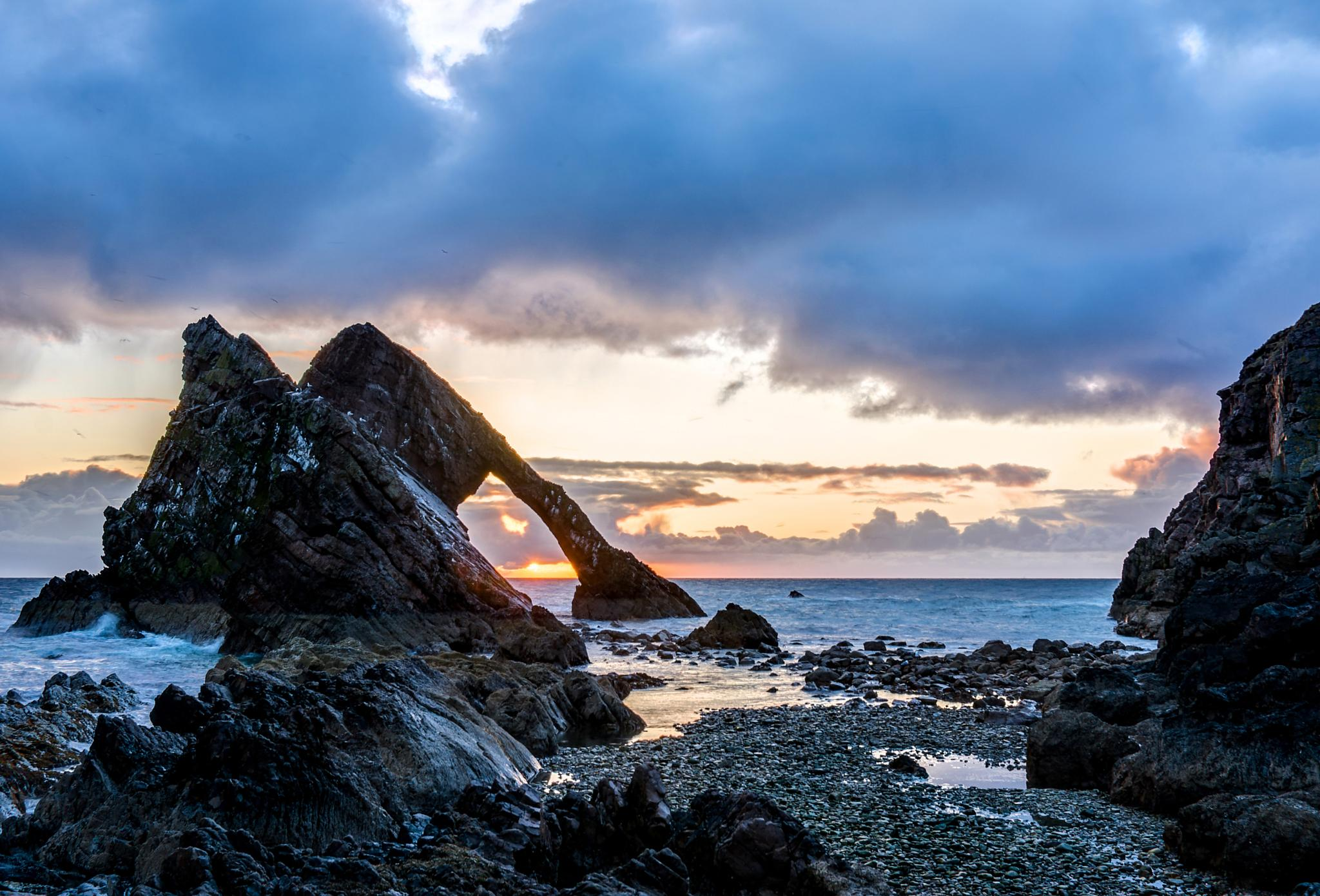 Photo in Sea and Sand #bow fiddle rock #dawn