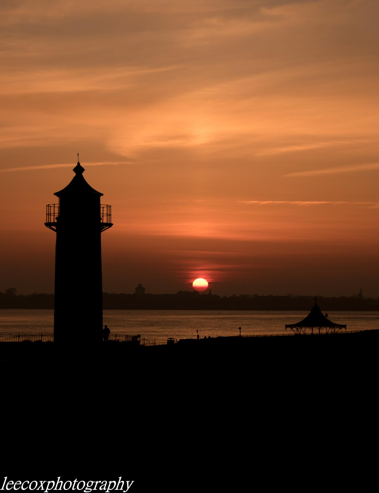 Photo in Sea and Sand #lighthouse #southsea #beach #sunset #sun #night #fuji