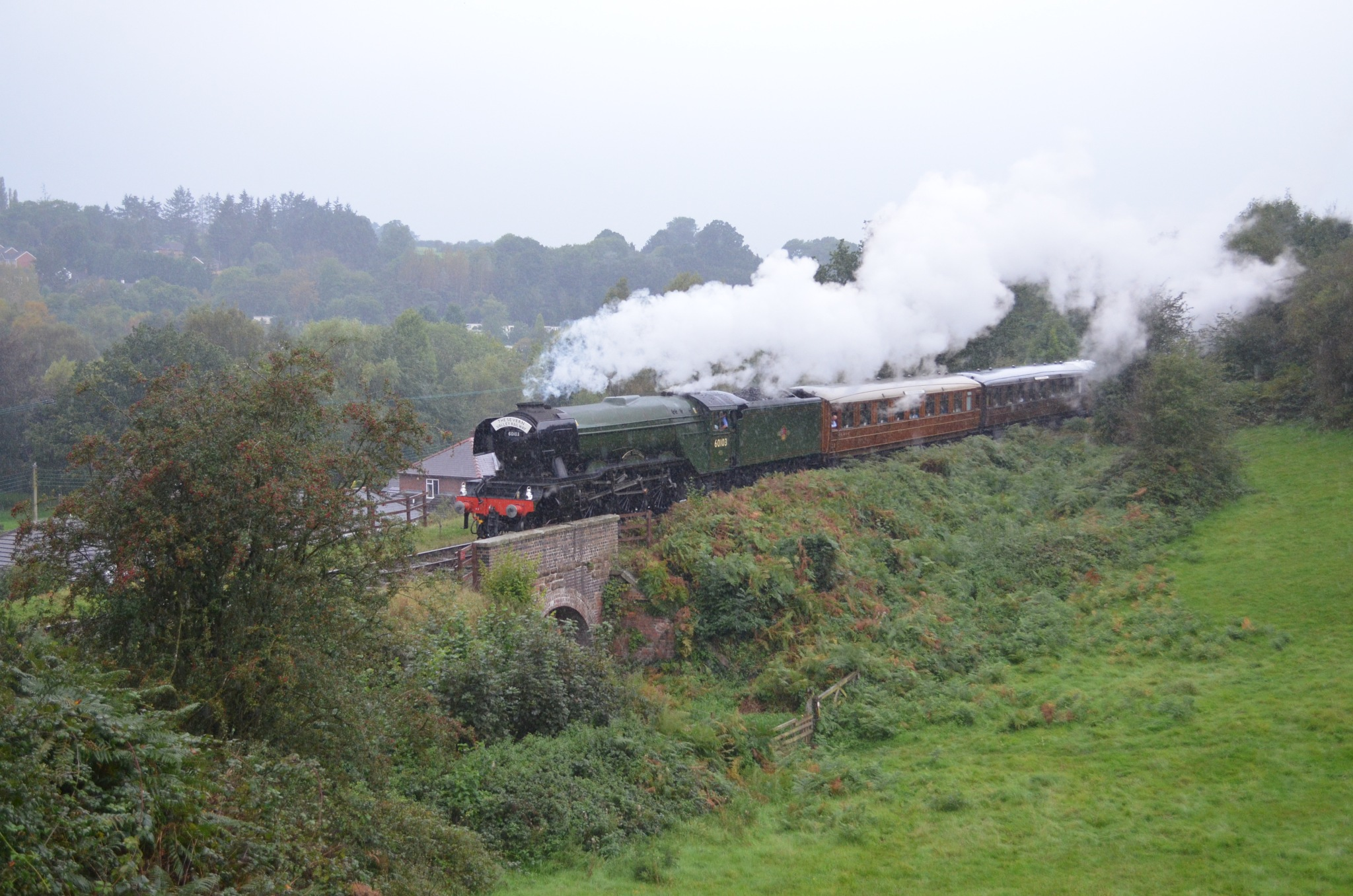 The Flying Scotsman approaching Bewdley in the rain by adrian.williams.58323