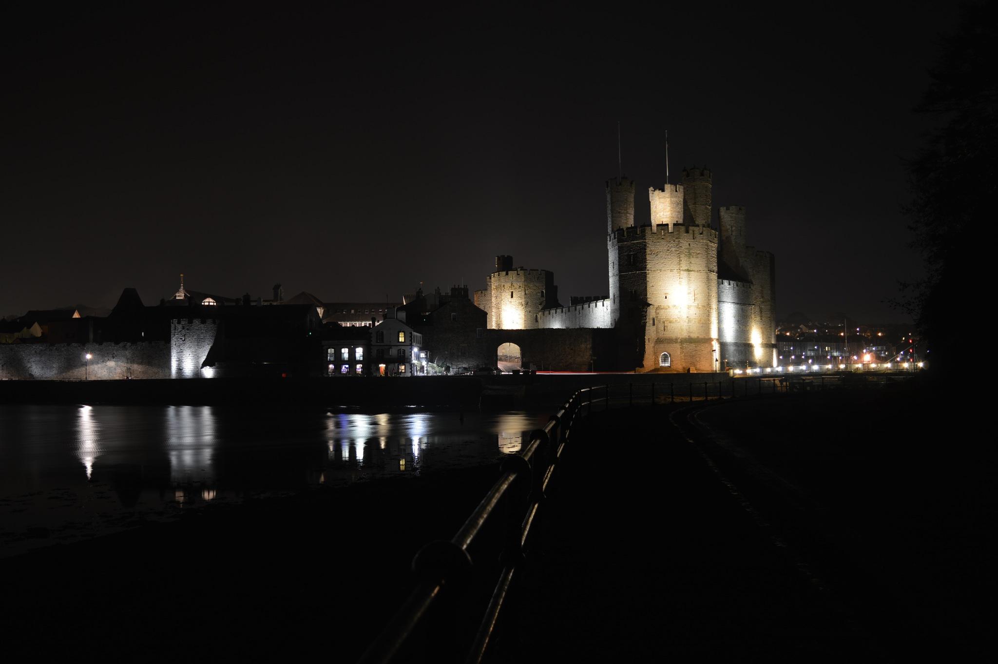 Caernafon Castle by night by adrian.williams.58323
