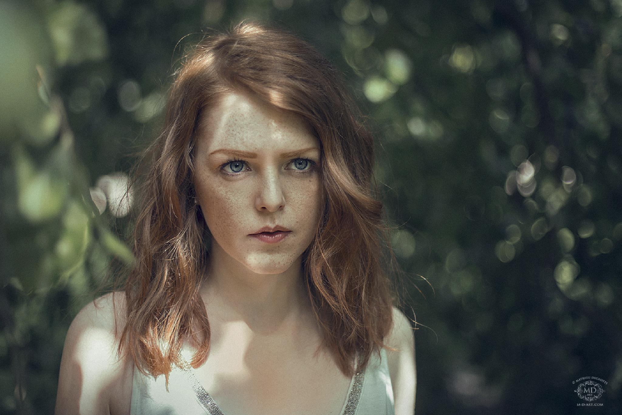 Photo in Portrait #girl #woman #young #maid #freckles #face #redhead #ginger #natural #nature #forest #sun #summer #light #dots #leaves #green #beauty #cute #pretty