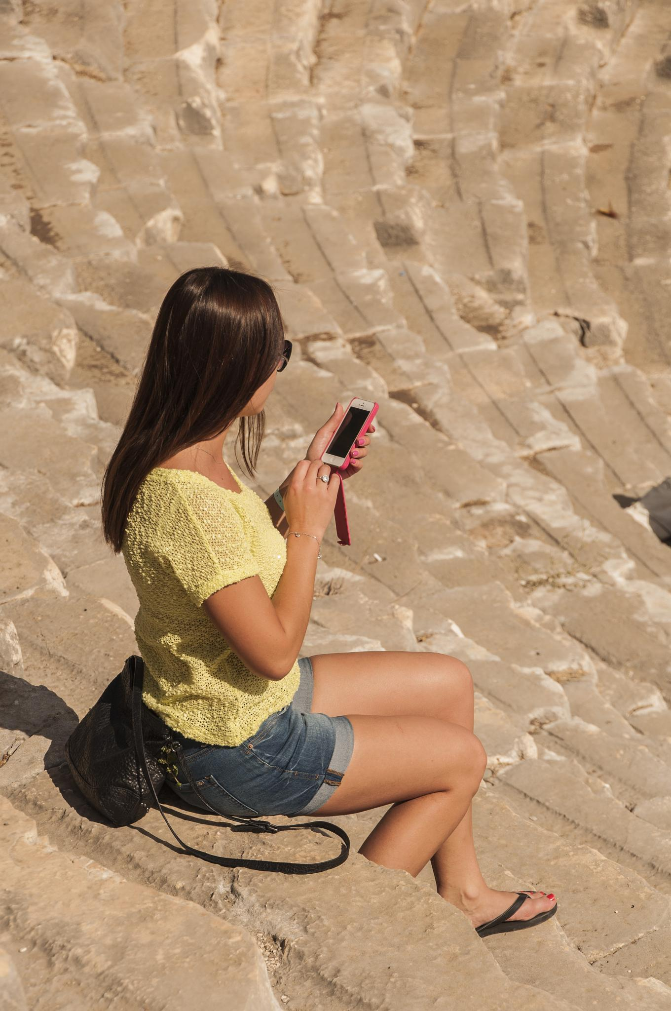 modern girl in ancient building by gorber