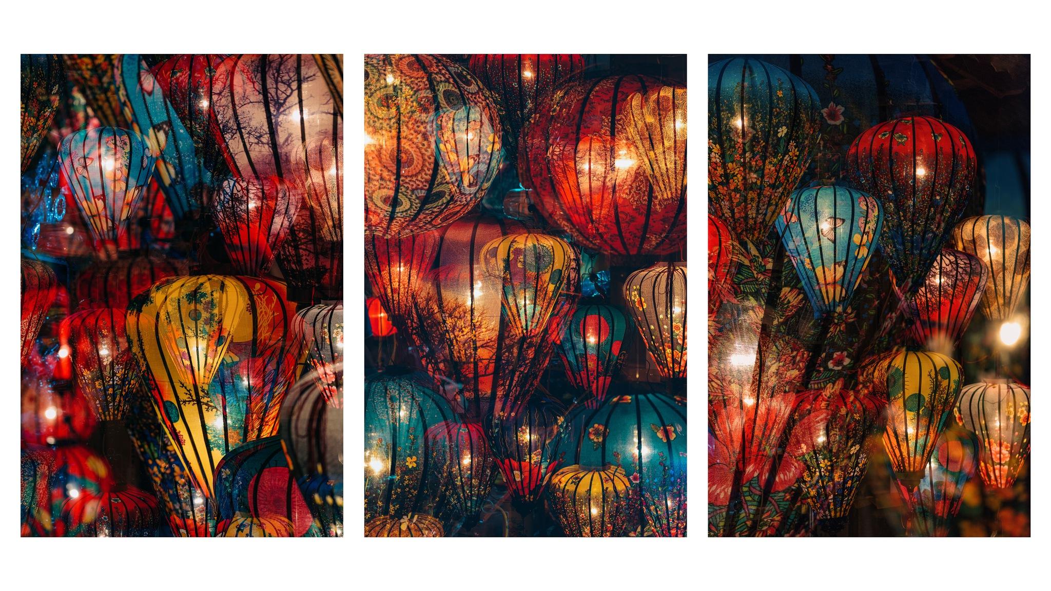 A Sea of Lanterns II (Triptych) by Peter Stewart