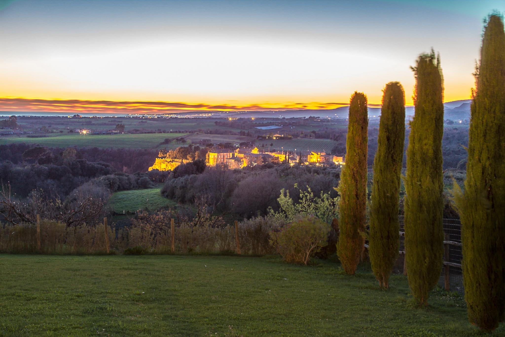 borough of Ceri at dusk by Maurizio Fissi