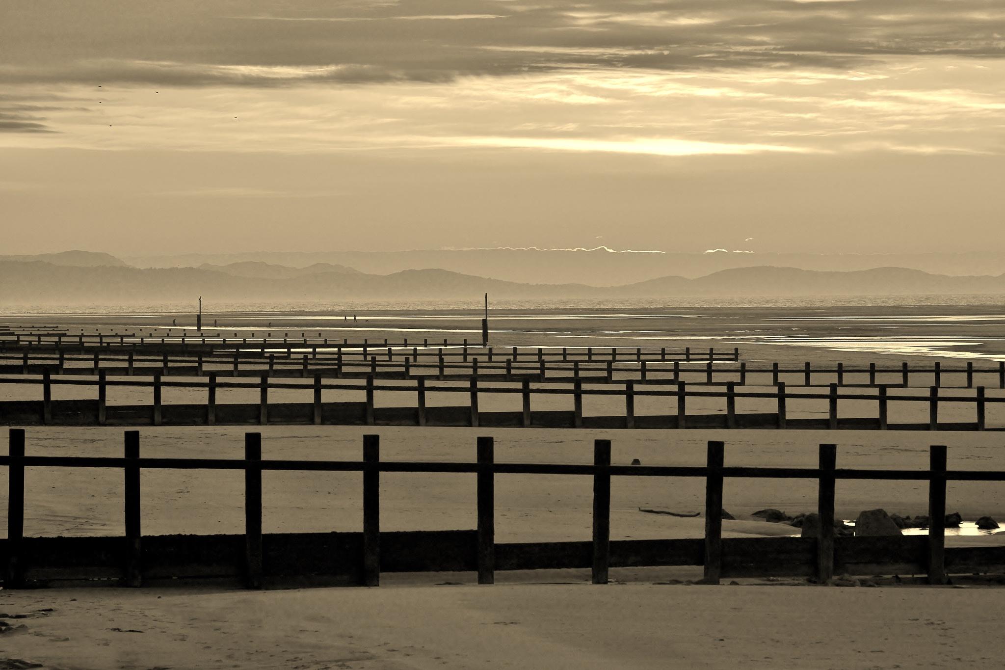 Photo in Black and White #sepia #monochrome #landscape #seascape #sundown