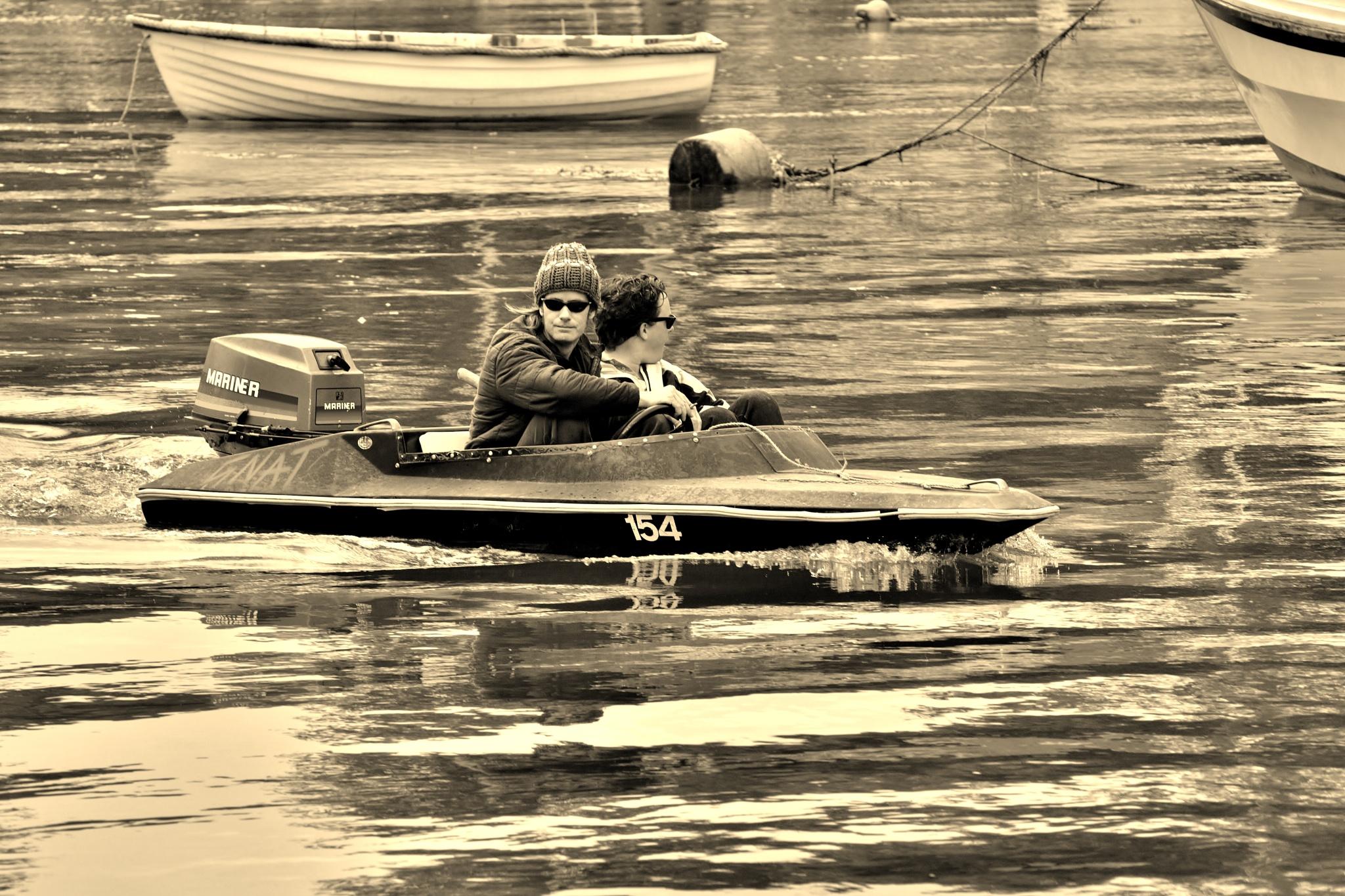 Photo in Black and White #caernarfon #men #motorboat #sea #river #water #monochrome #sepia