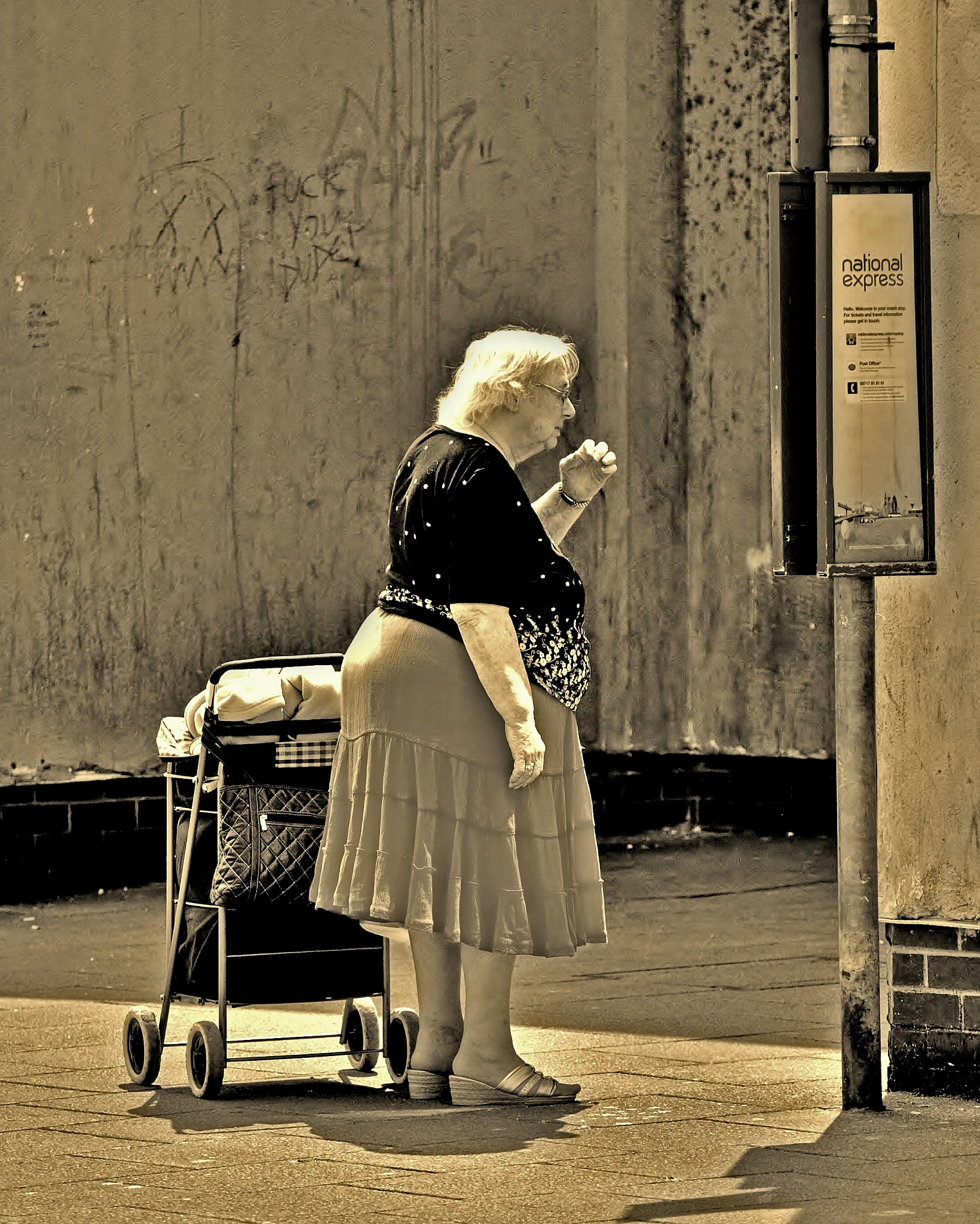 Photo in Black and White #monochrome #sepia #people #woman #bus stop