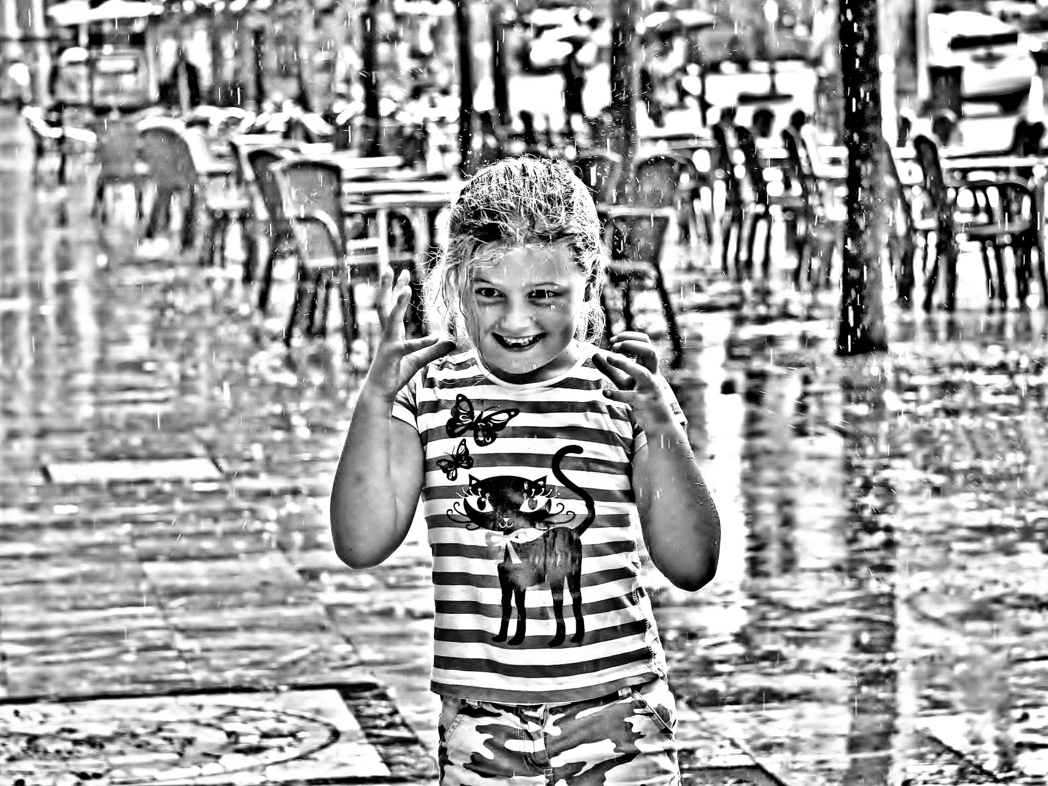 Girl In The Rain - Monochrome by paul.hosker