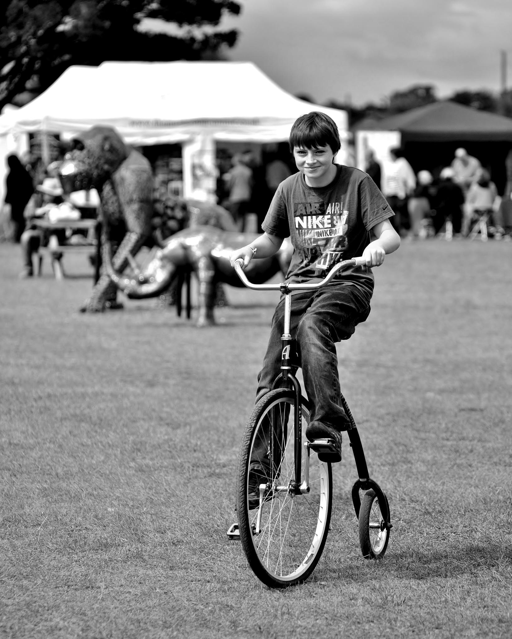 Shrewsbury Folk Festival - Boy - Penny Farthing - Monochrome by paul.hosker