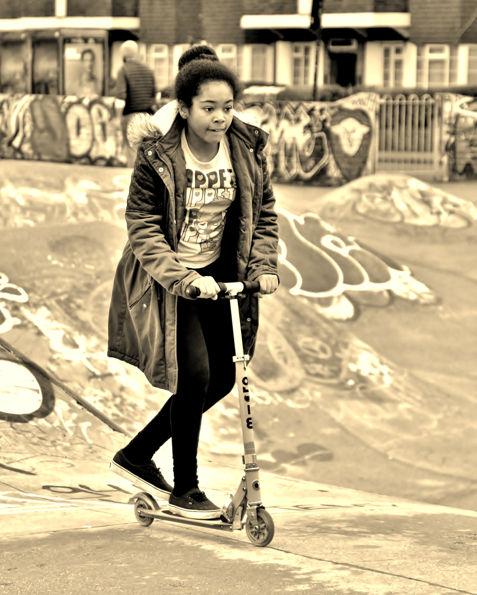 London - Brixton - Girl - Scooter - Sepia by paul.hosker