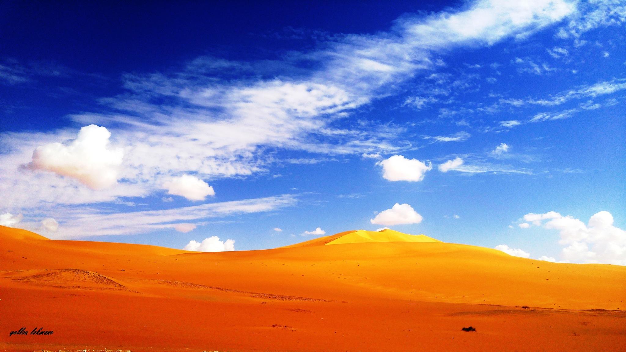 yellow blue desert by lokmane.yellou