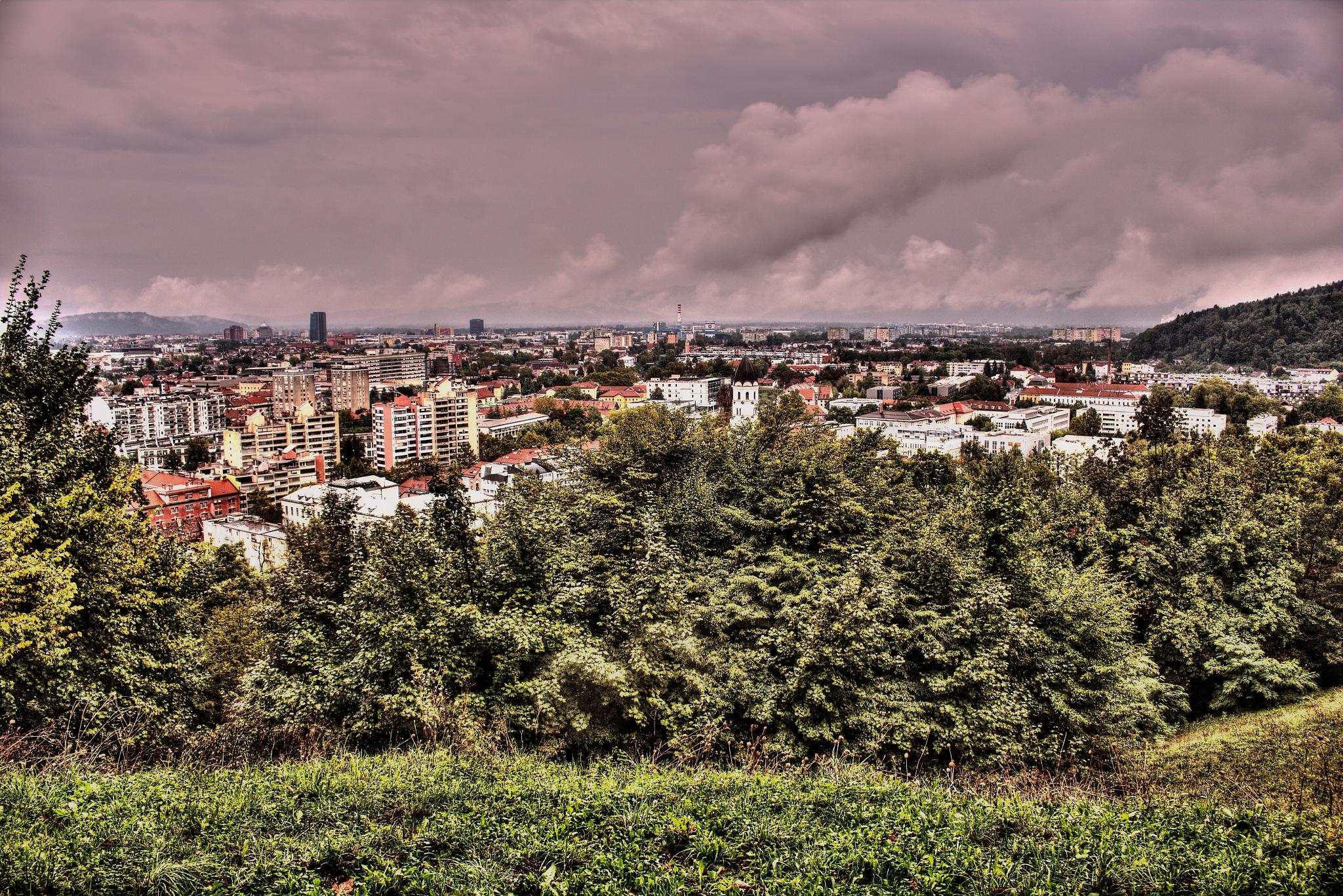 View of the rainy city of Ljubljana by zvnktomasevic