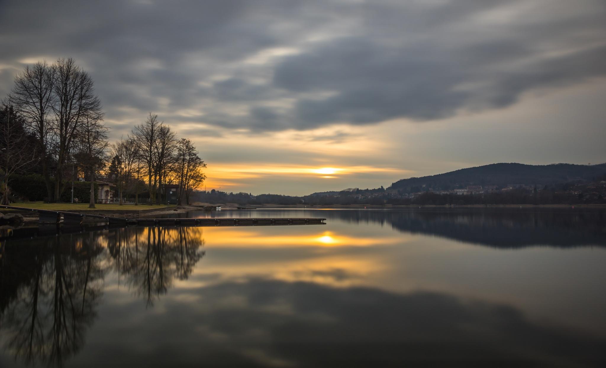 February Sunset Lago Comabbio by Paul Newman