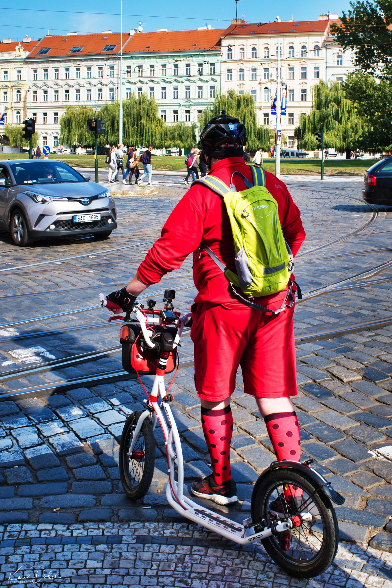 safely across Prague on a scooter by Karel Dobes