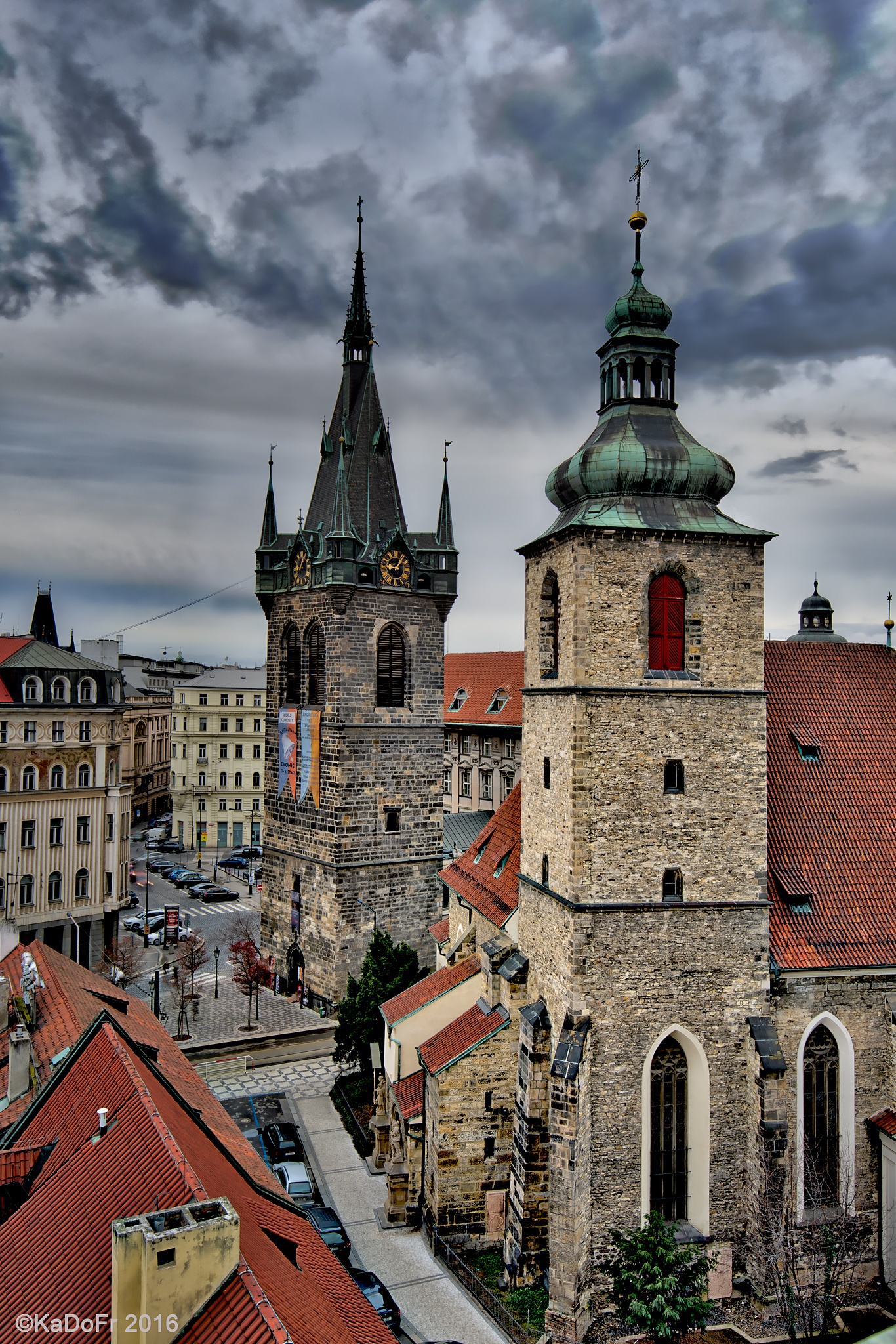 The Church of Saint Henry and Saint Cunigunde and the Henry Tower in Prague-New Town by Karel Dobes
