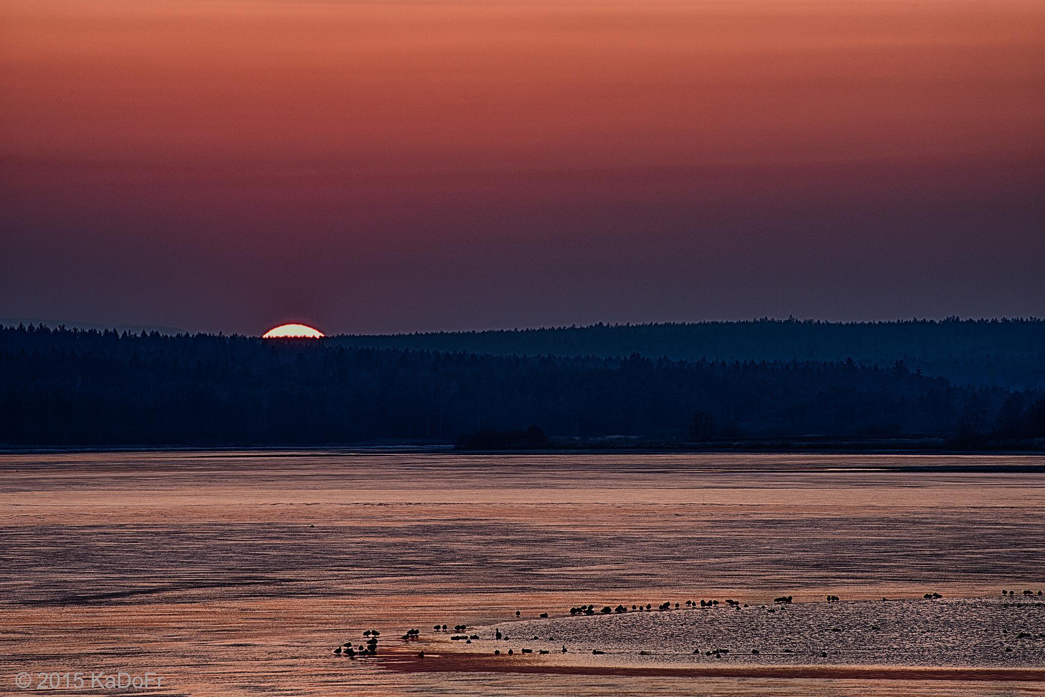 """Sunset on the pond """"Svet"""" i Trebon by Karel Dobes"""