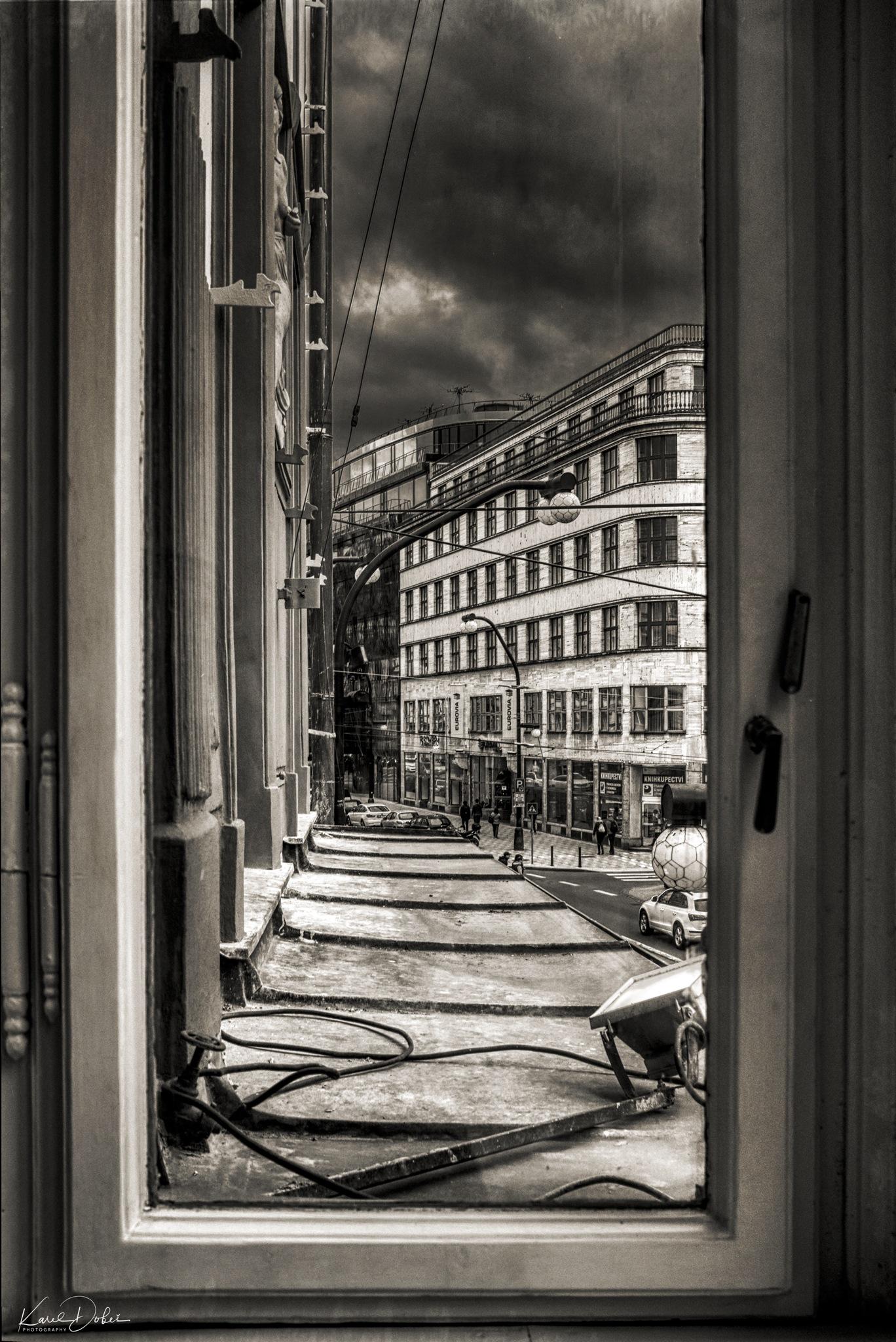 "view through the window at ""Narodni"" in Prague by Karel Dobes"