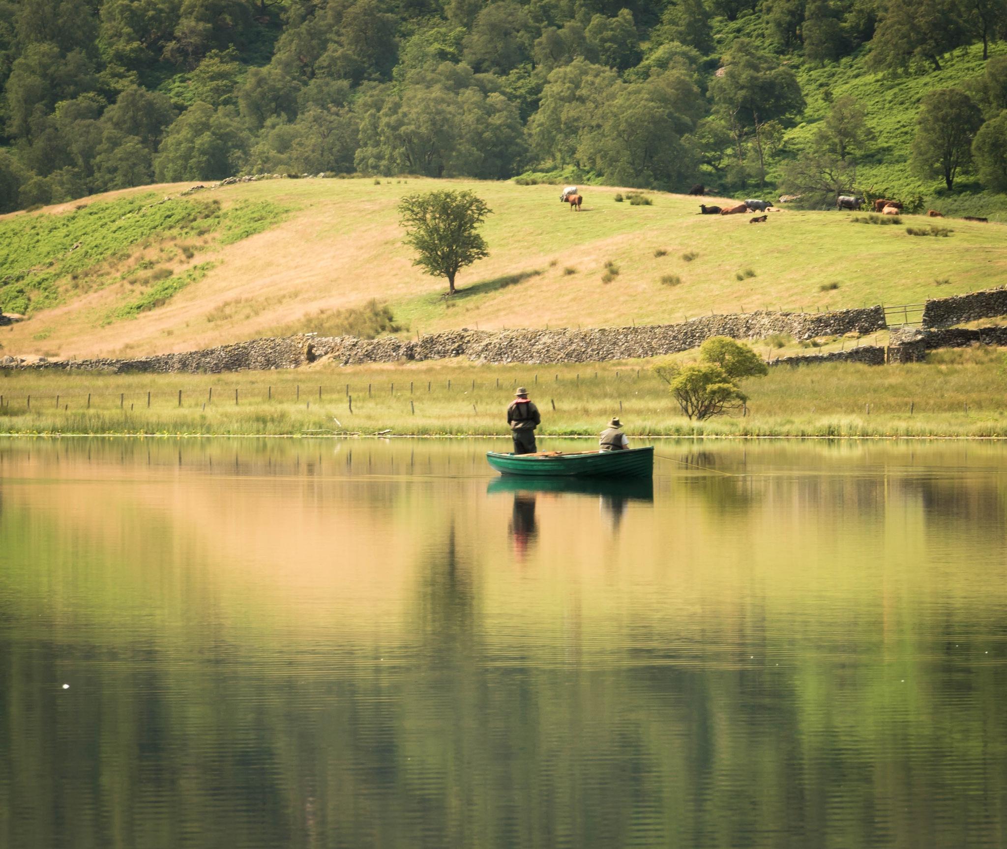 Two men in a boat by debra godwin